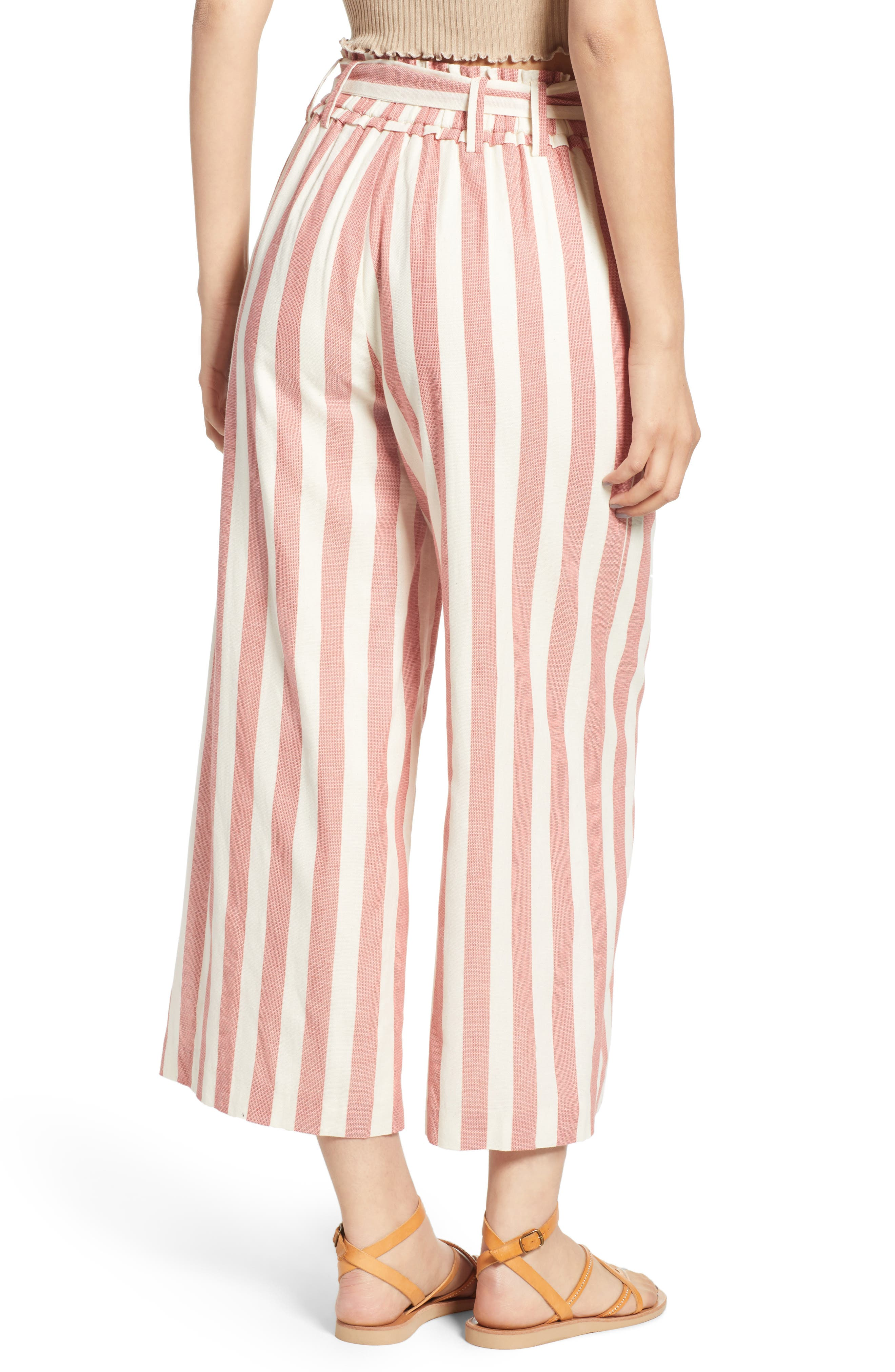 Stripe Paperbag Waist Pants,                             Alternate thumbnail 2, color,                             Red Stripe