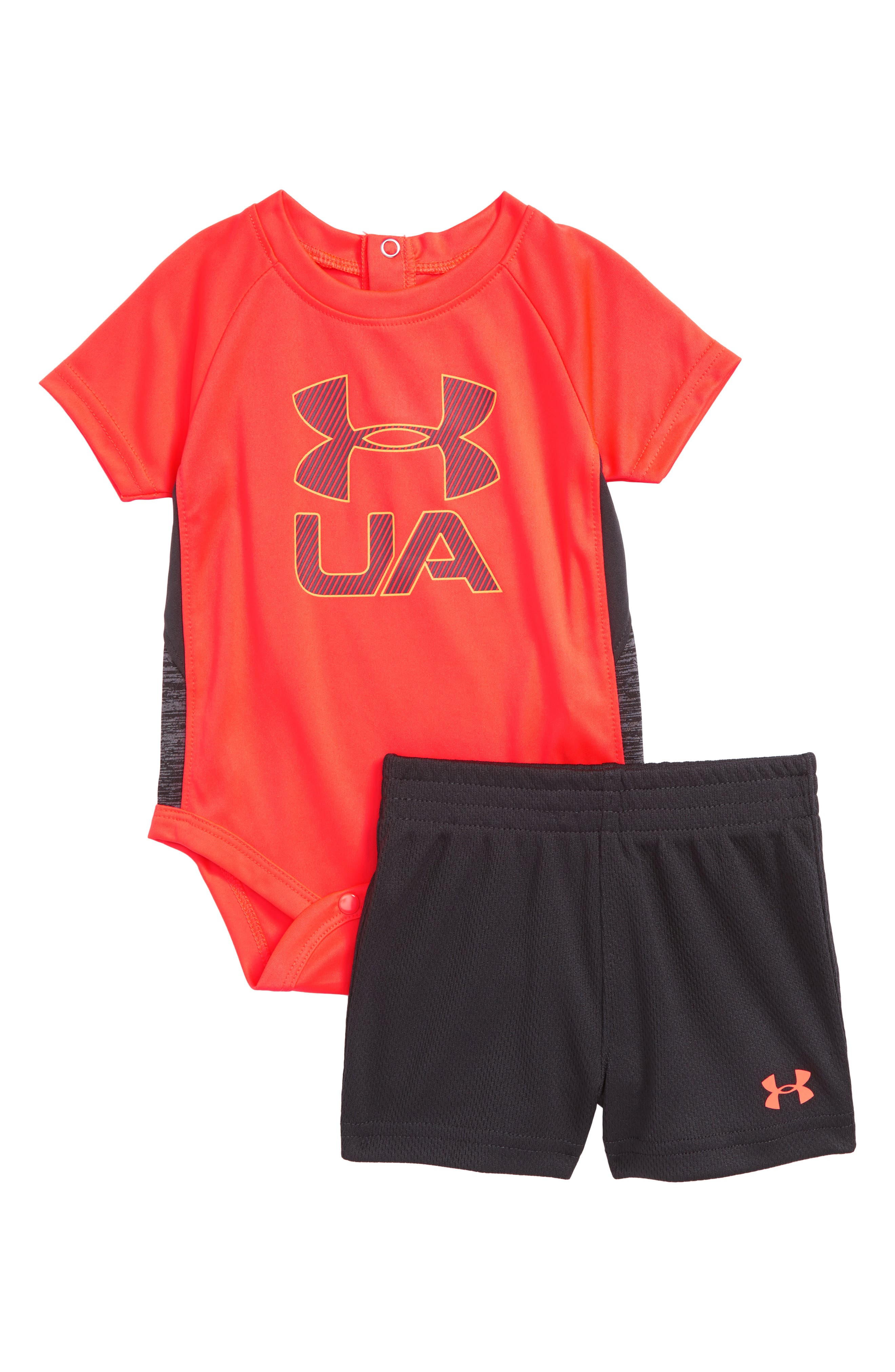Sportster Bodysuit & Shorts Set,                         Main,                         color, Neon Coral