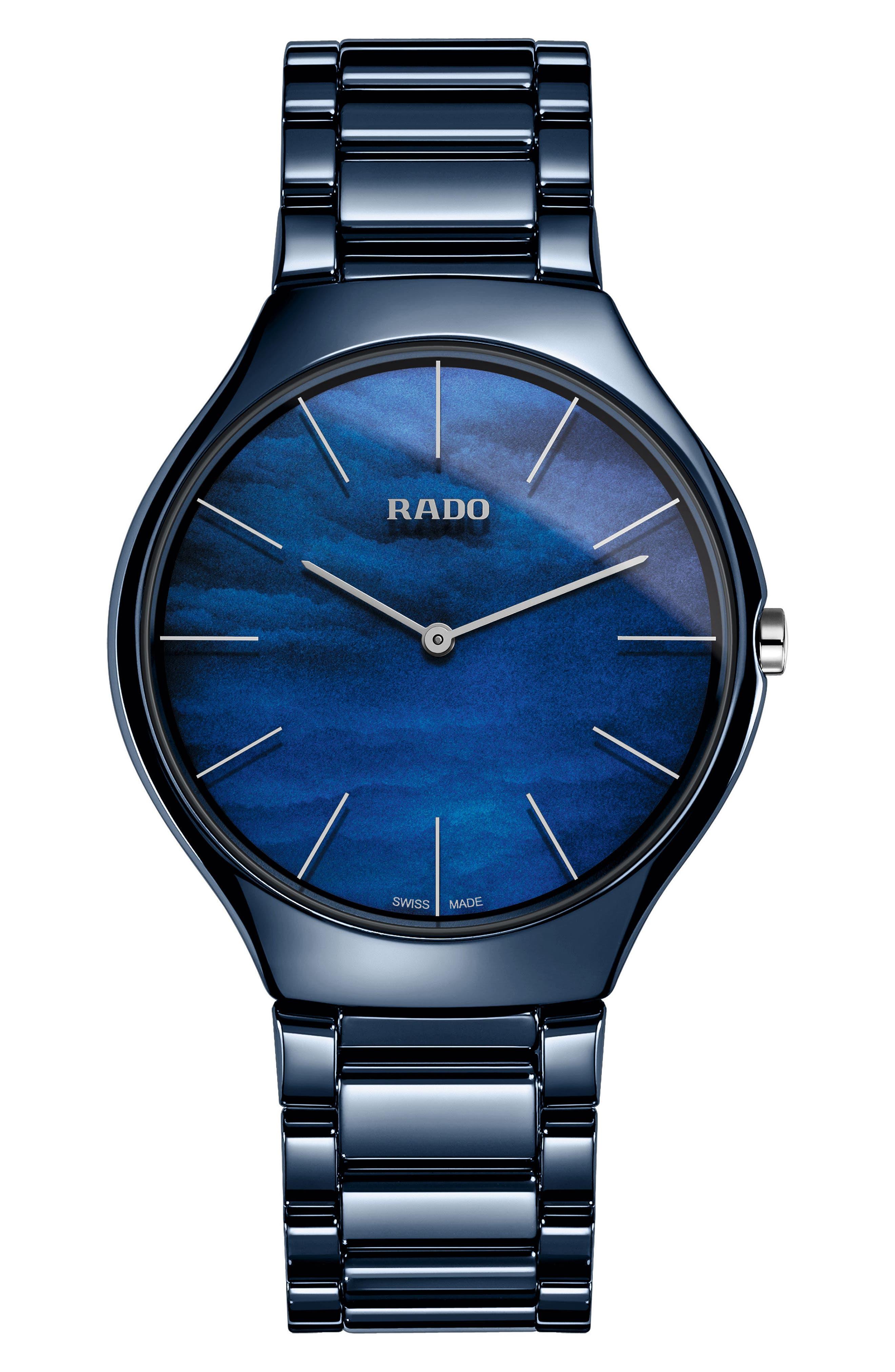 True Thinline Ceramic Bracelet Watch, 39mm,                             Main thumbnail 1, color,                             Blue