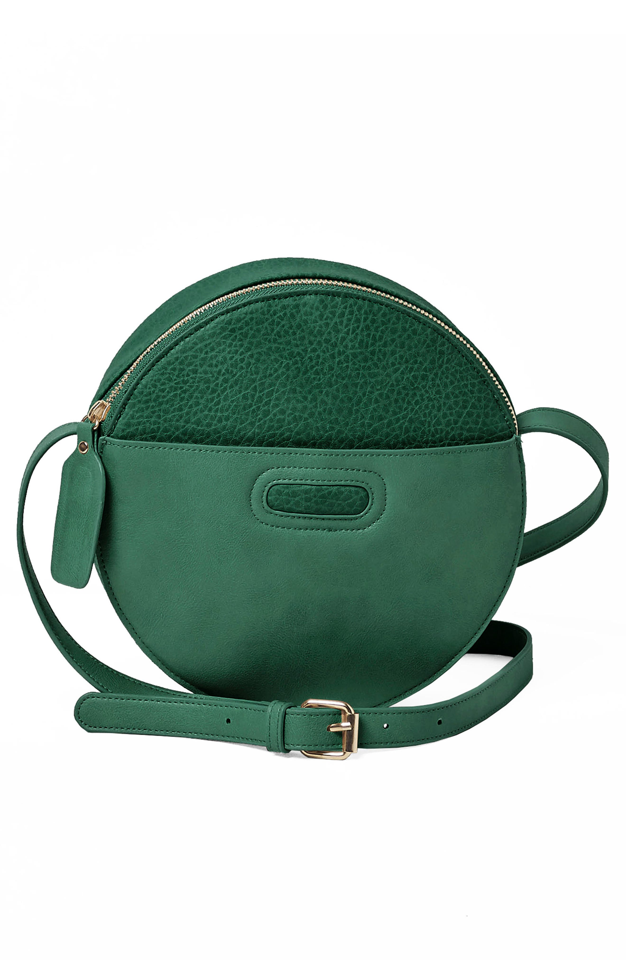 Carousel Vegan Leather Crossbody Bag,                             Main thumbnail 1, color,                             Emerald
