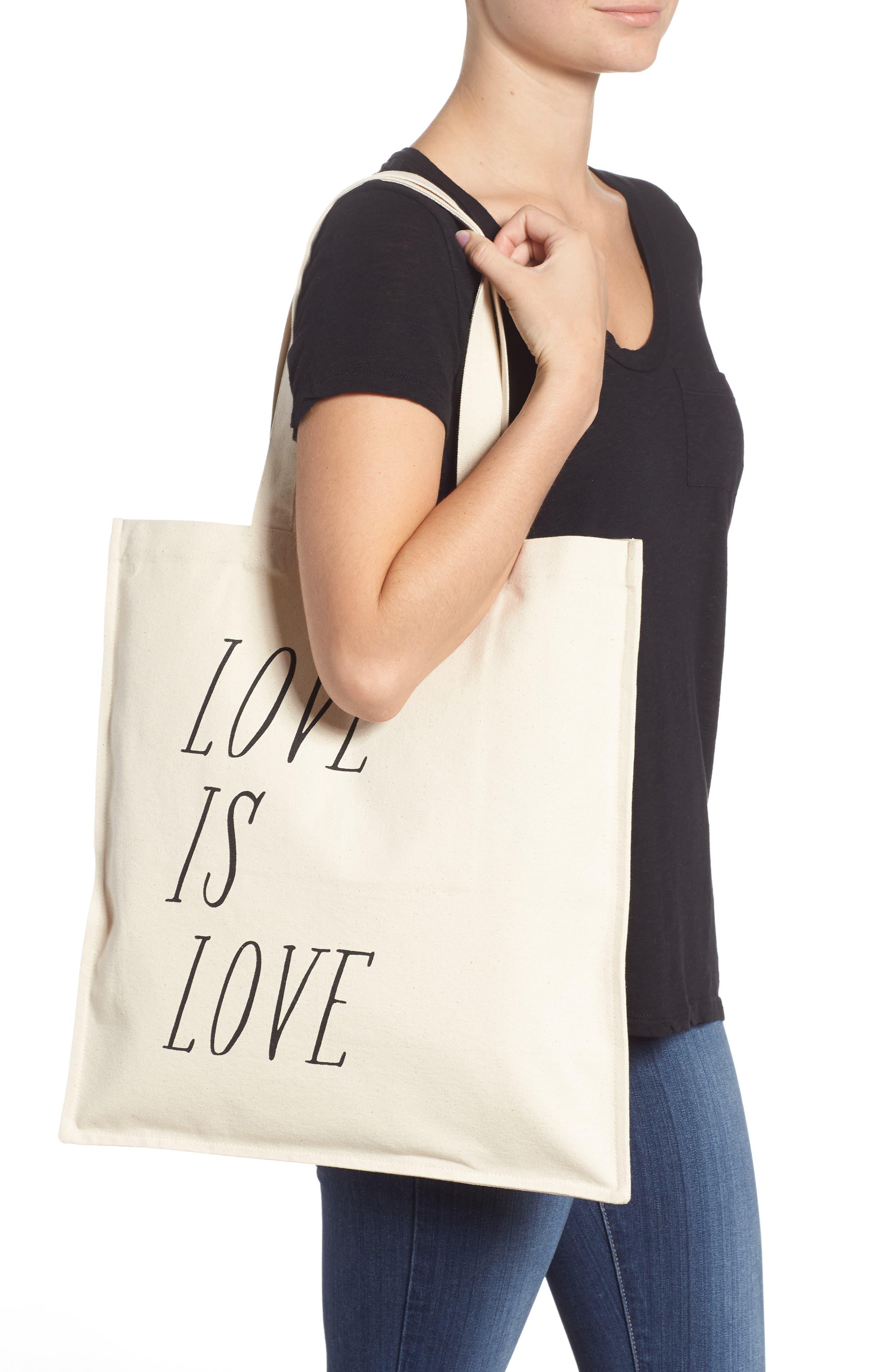 Love is Love Canvas Market Tote,                             Alternate thumbnail 2, color,                             Black/ Oat