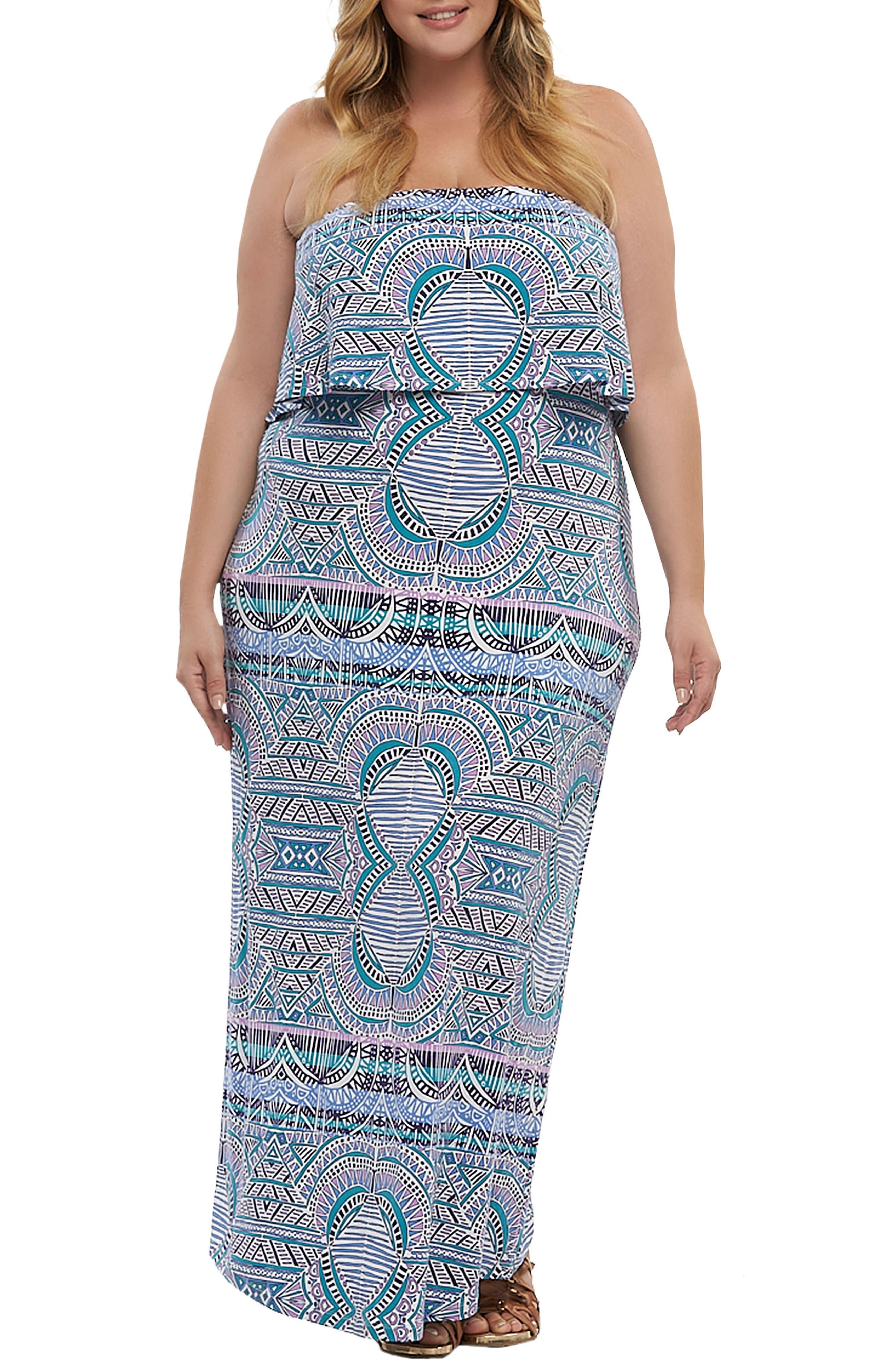 Aeryn Maxi Dress,                             Main thumbnail 1, color,                             Sunset Tiles