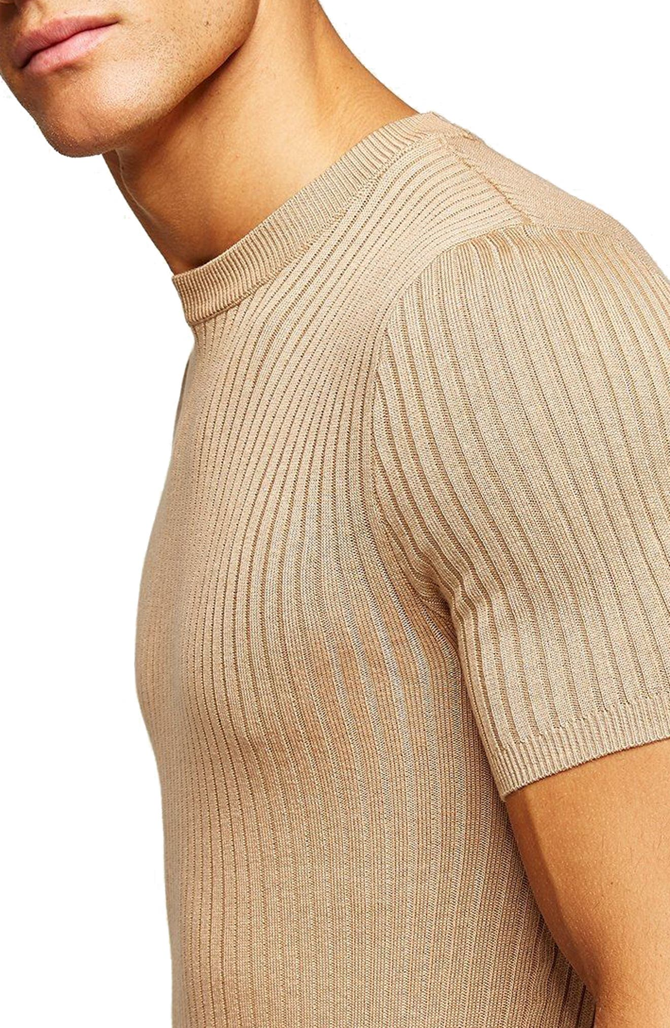 Short Sleeve Muscle Fit Shirt,                             Alternate thumbnail 3, color,                             Stone
