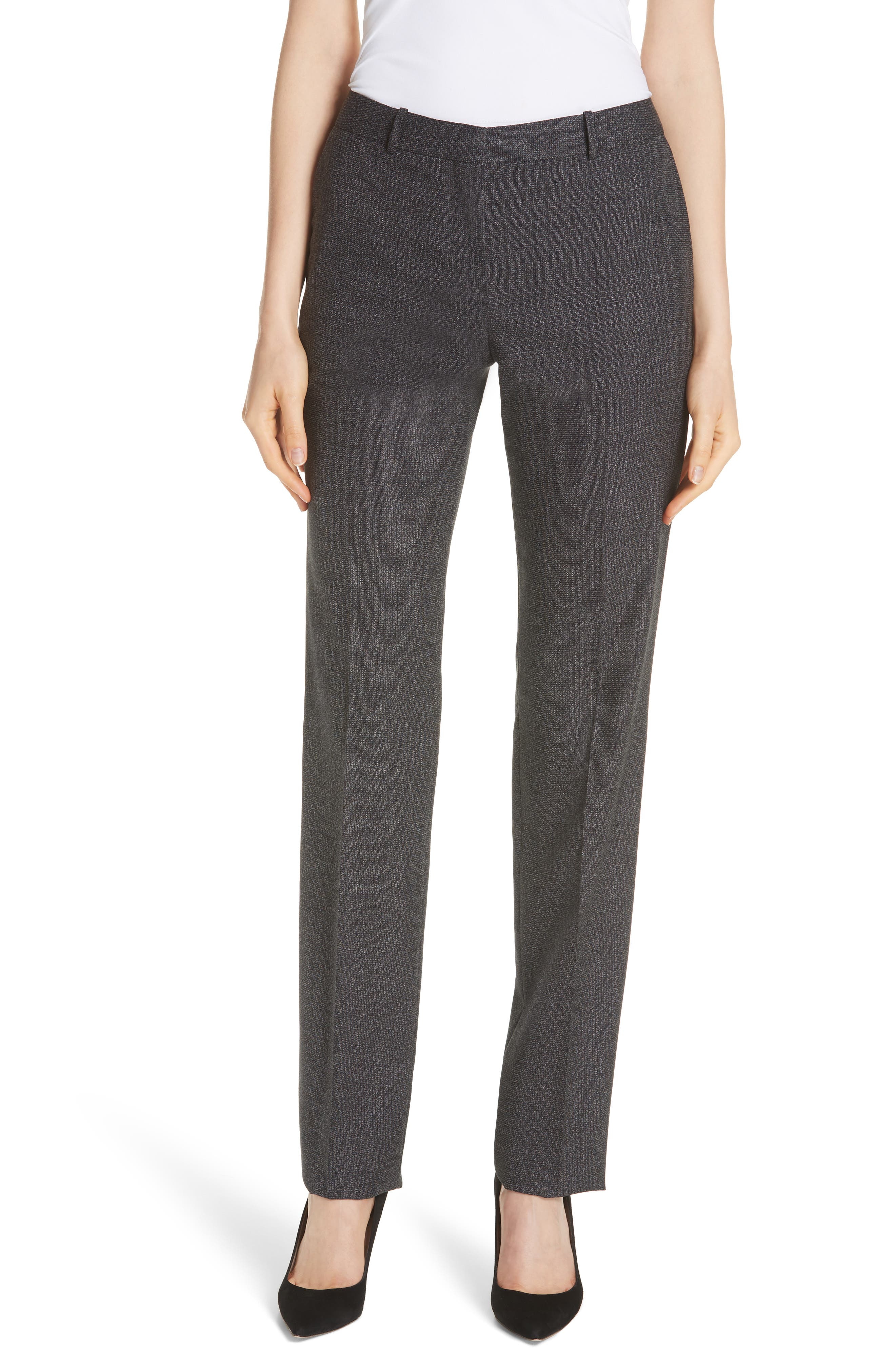 Tamea Tropical Stretch Wool Trousers,                         Main,                         color, Black Fantasy