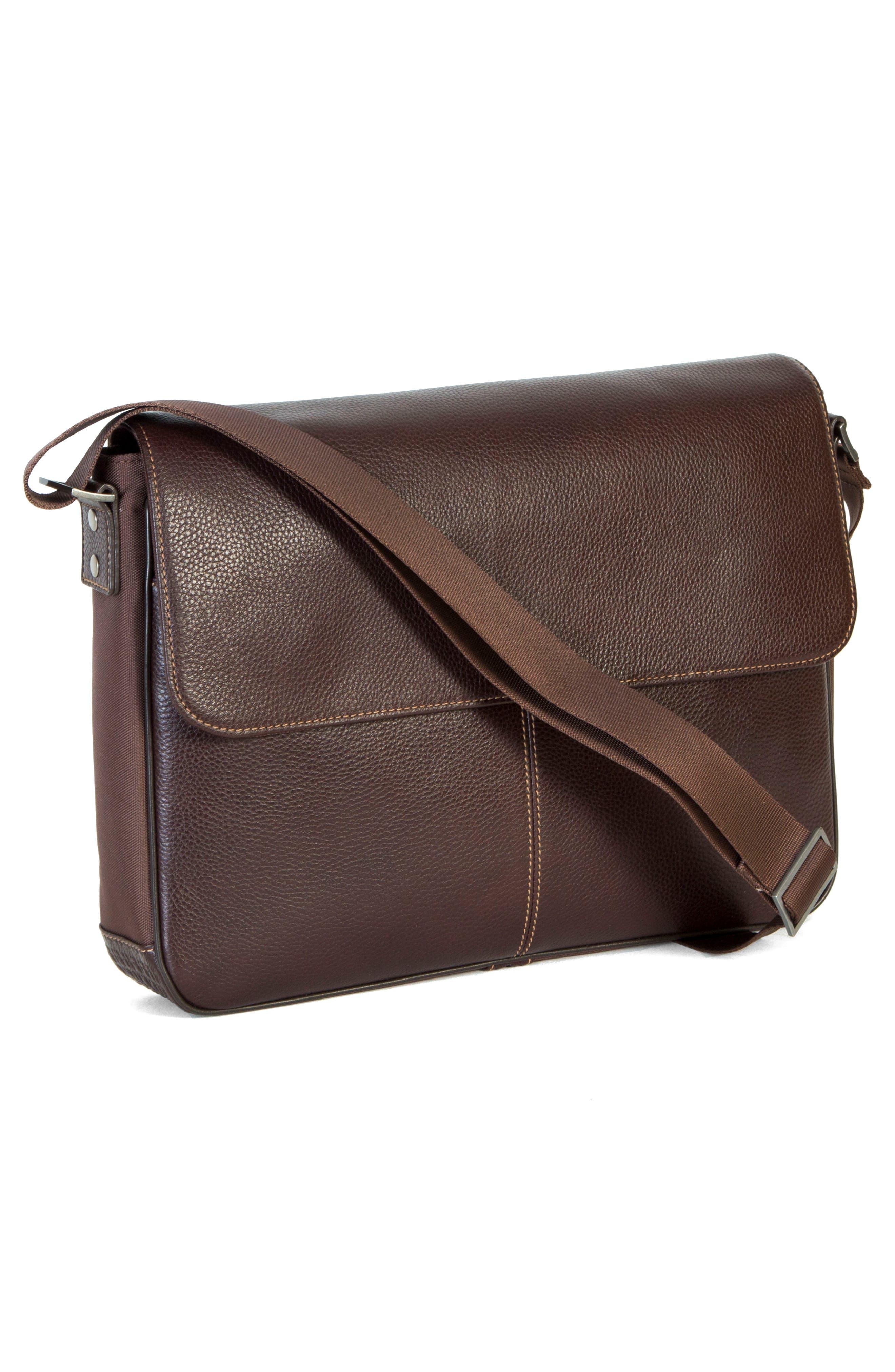 Tyler Leather Messenger Bag,                             Alternate thumbnail 3, color,                             Coffee