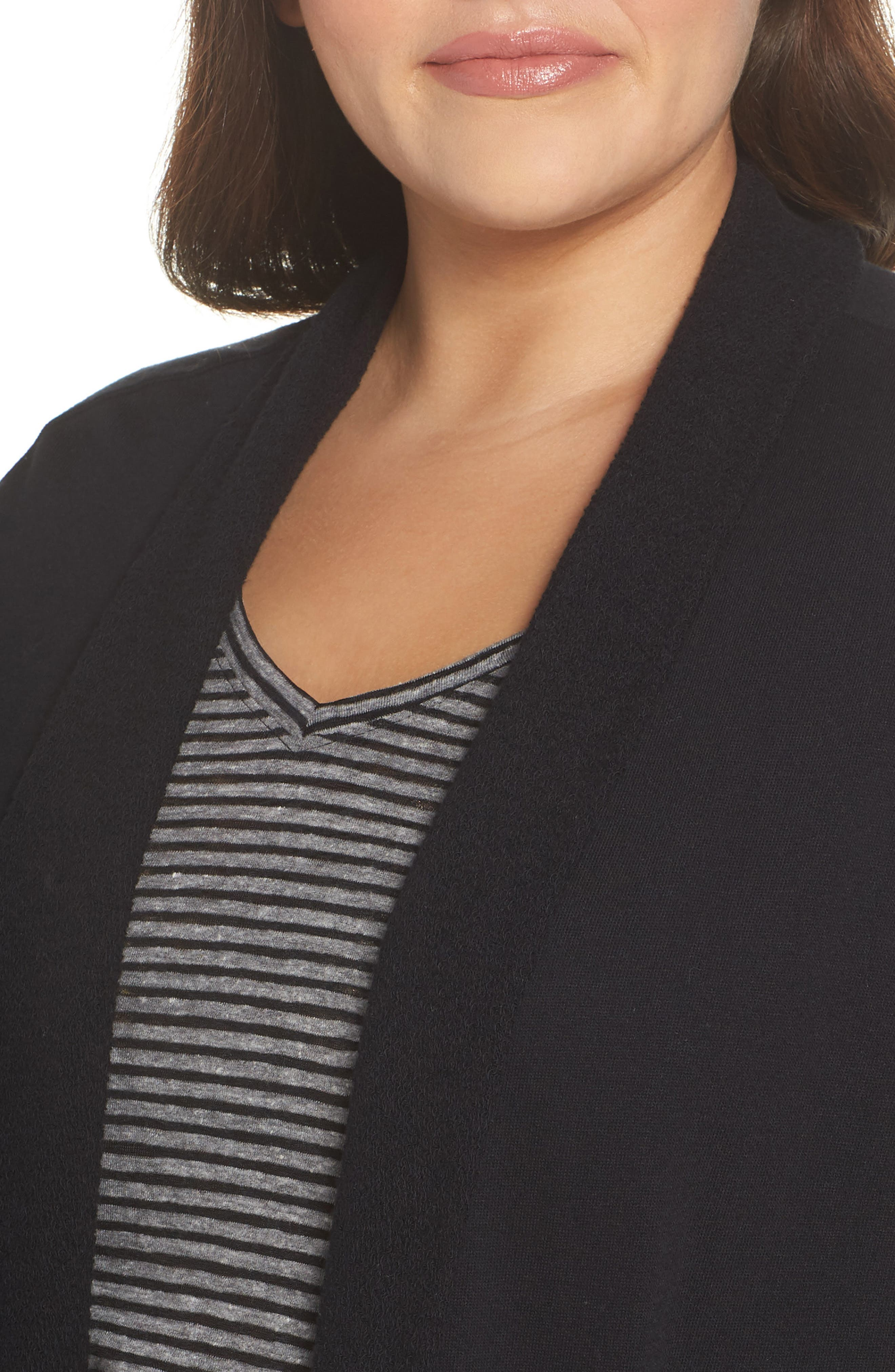Knit Roll Sleeve Blazer,                             Alternate thumbnail 3, color,                             Black
