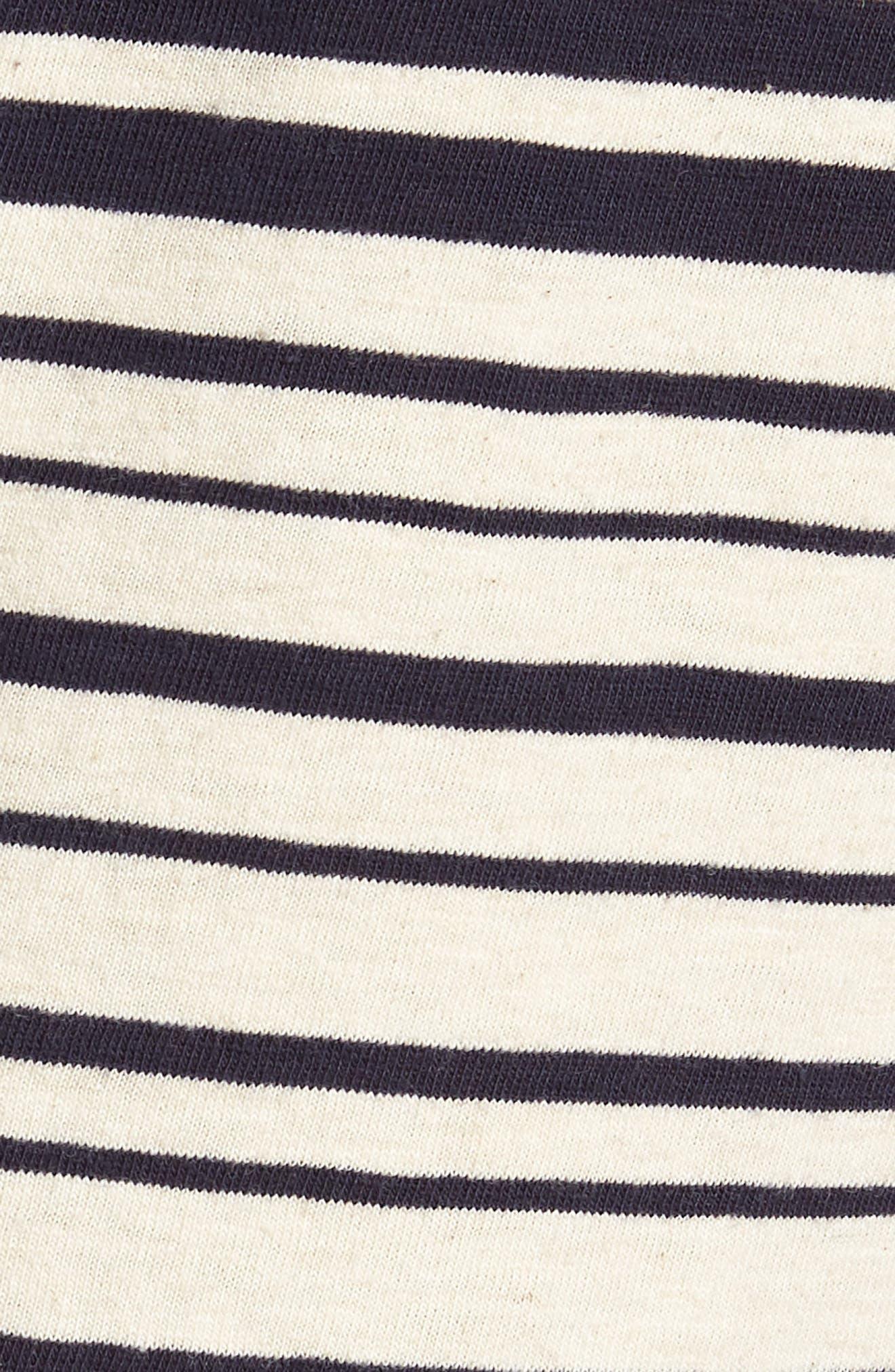 Variegated Stripe Slub Cotton T-Shirt,                             Alternate thumbnail 3, color,                             Ivory Navy