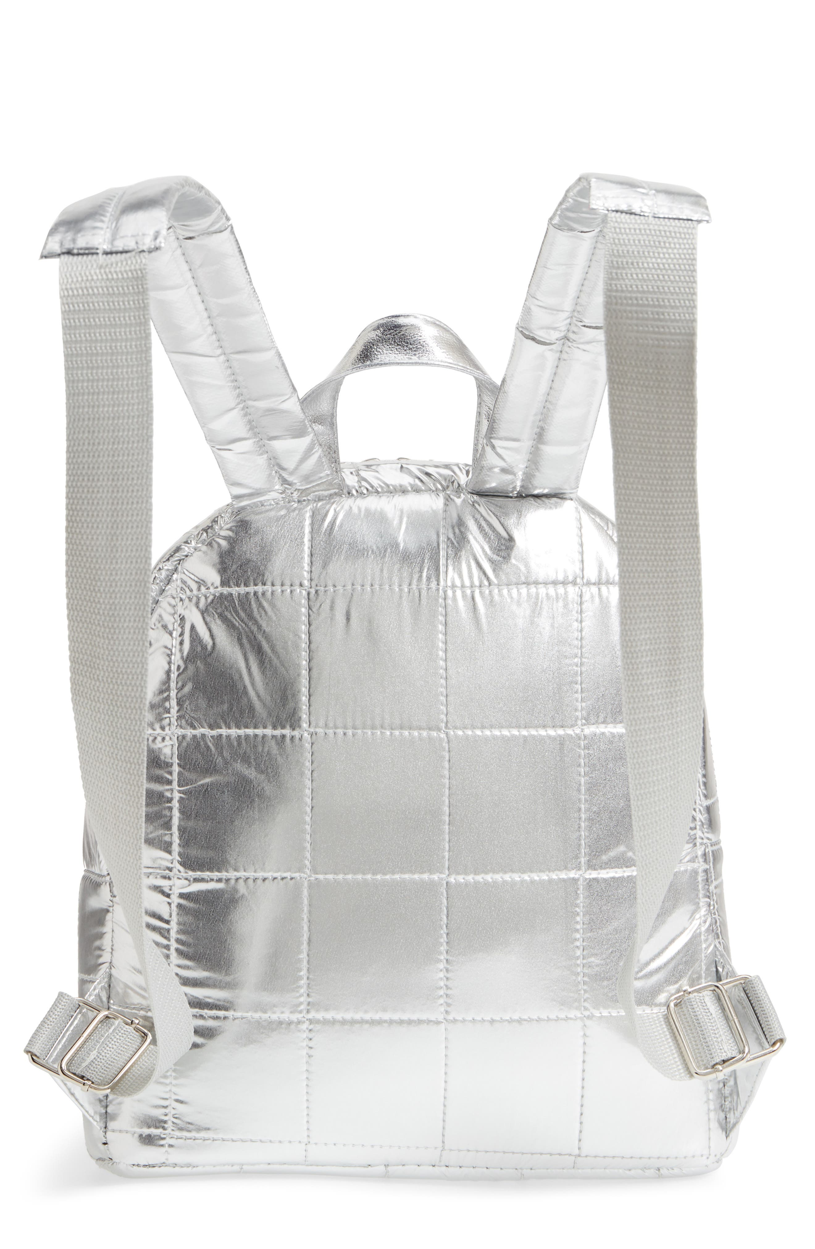 Mini Metallic Puffer Backpack,                             Alternate thumbnail 6, color,                             Silver
