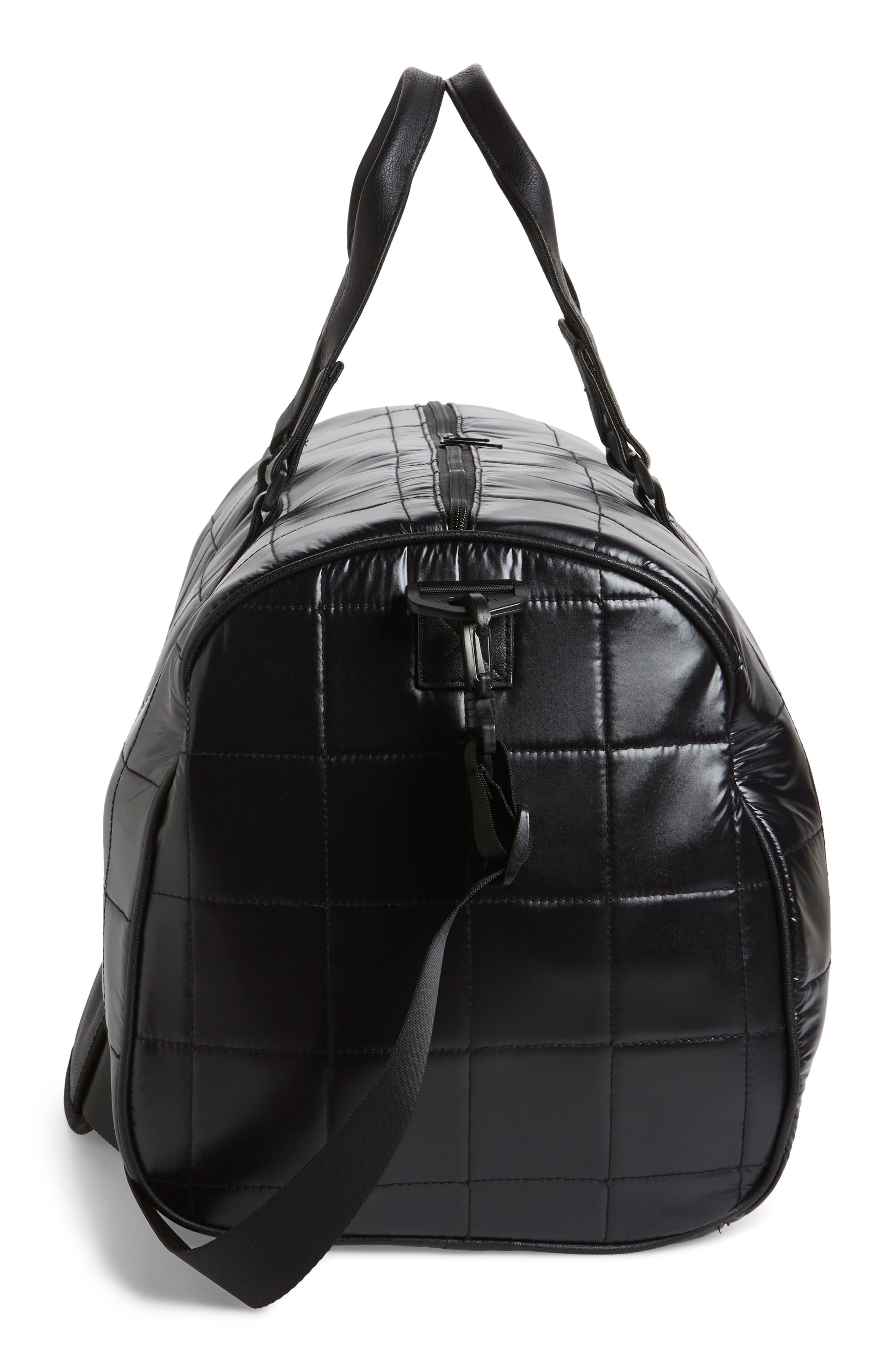 Puffer Duffel Bag,                             Alternate thumbnail 5, color,                             Black