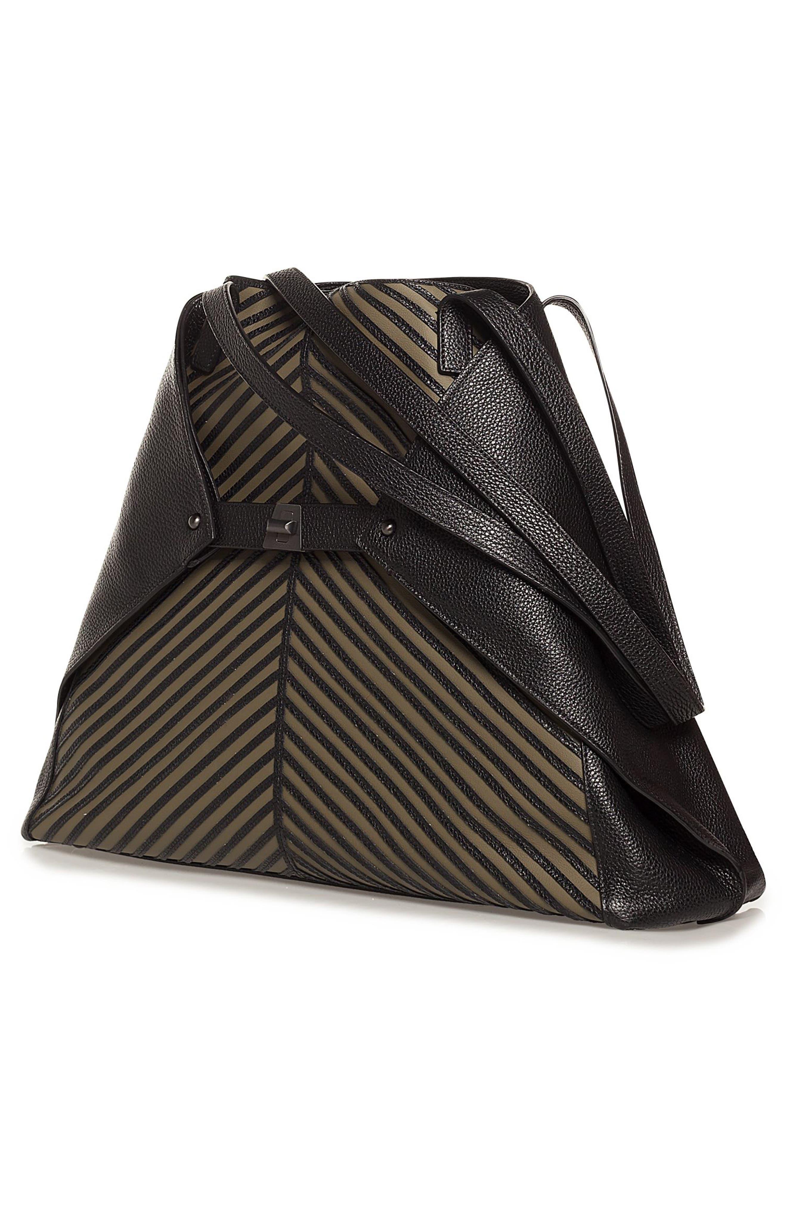 Medium AI Leather Tote,                             Alternate thumbnail 4, color,                             Olive/ Black