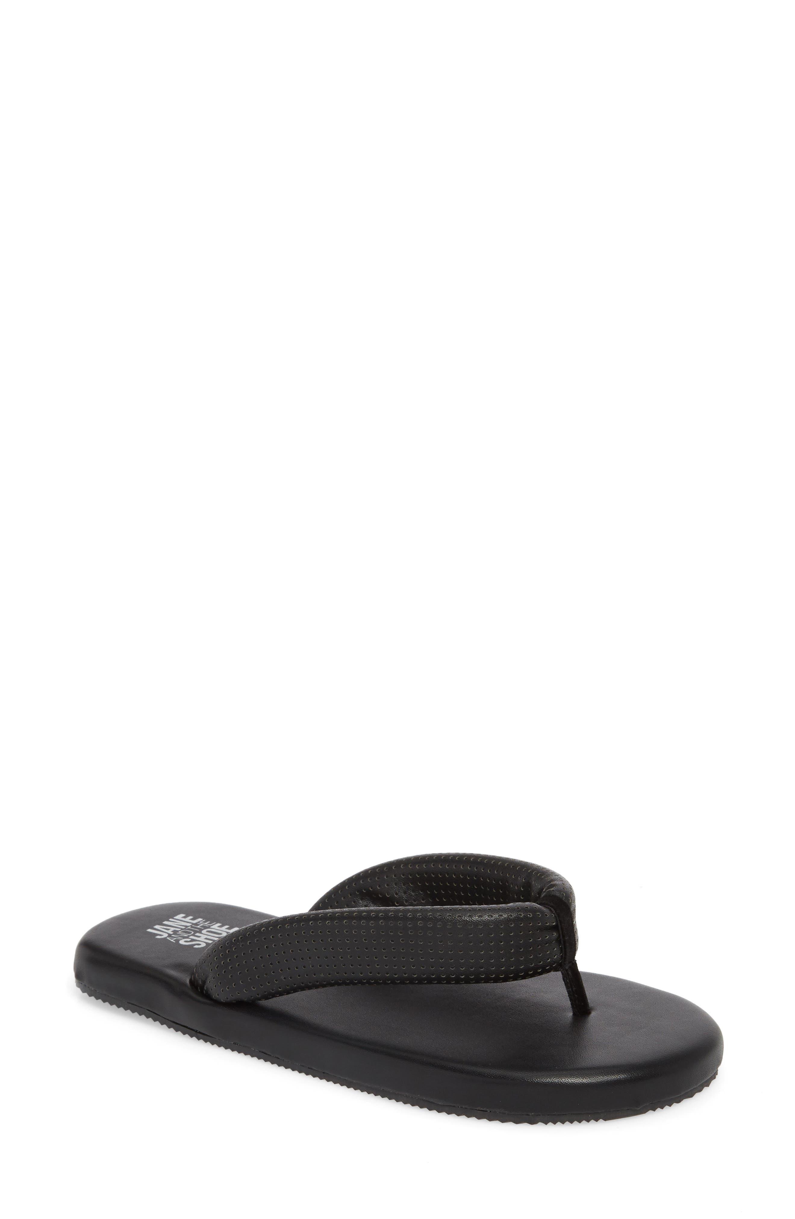 Jaime Plush Flip Flop,                         Main,                         color, Black