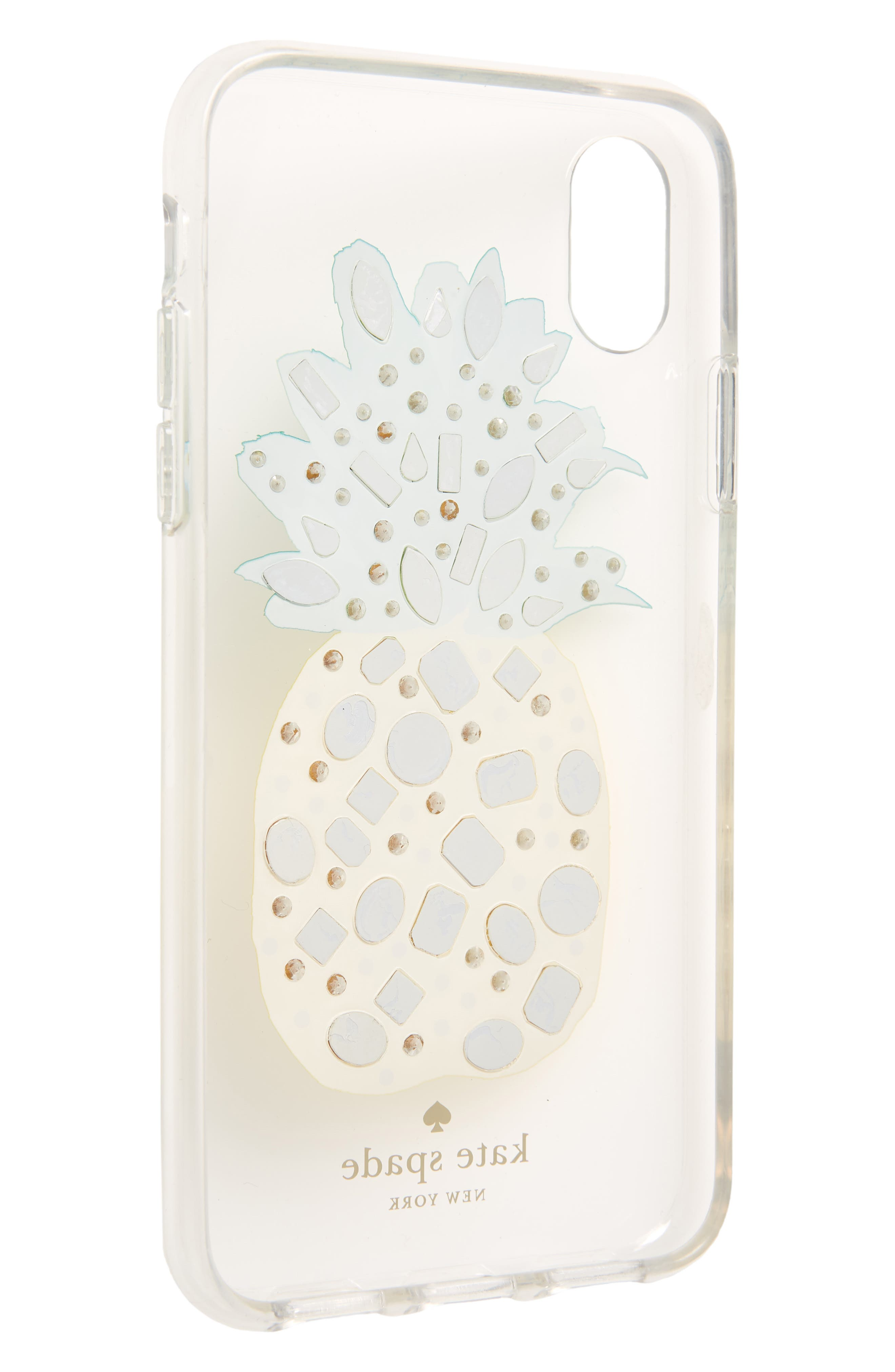 jeweled pineapple iPhone X case,                             Alternate thumbnail 2, color,                             Clear Multi
