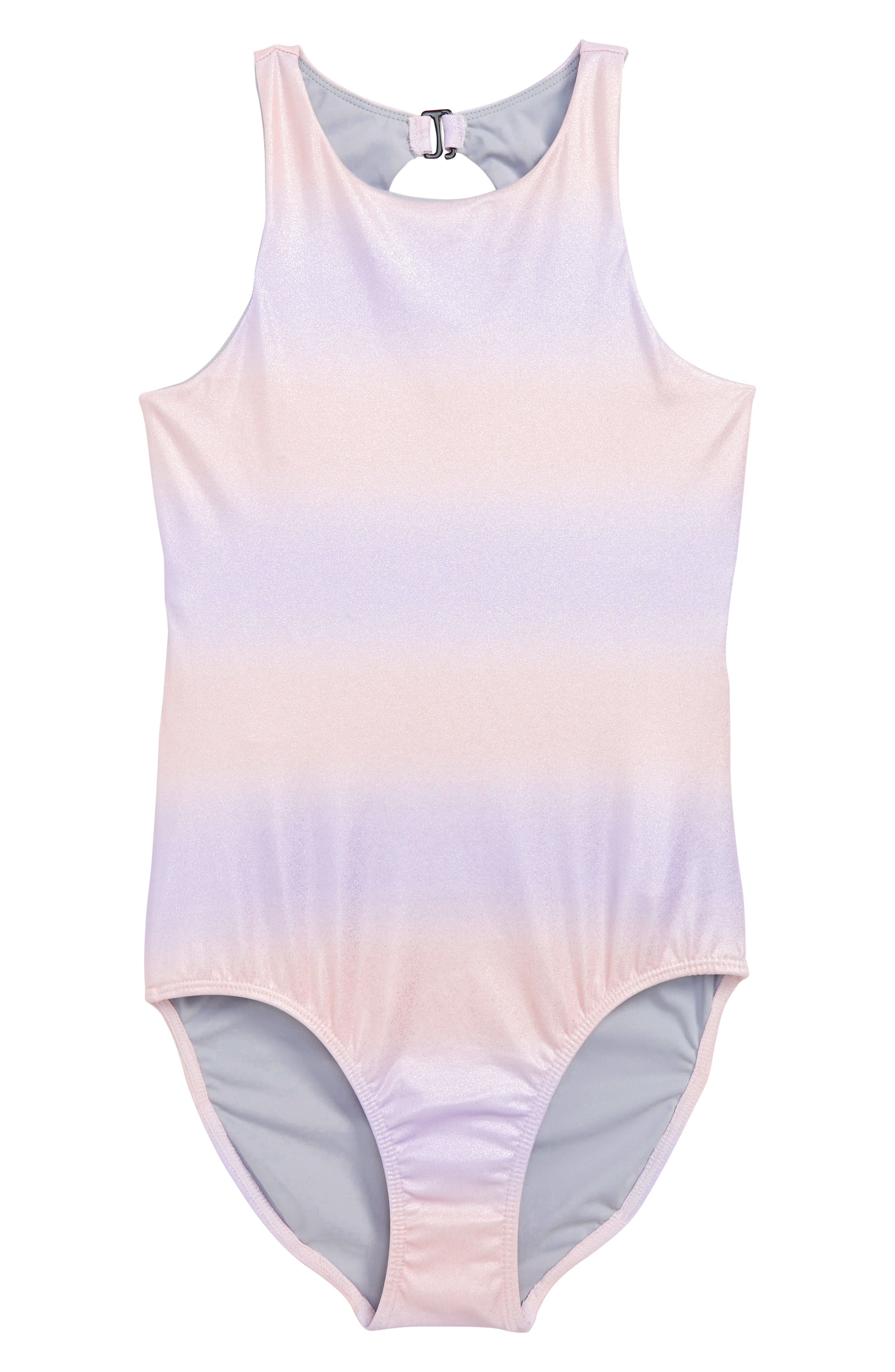 Ladder Back One-Piece Swimsuit,                         Main,                         color, Pink Sunset Metallic