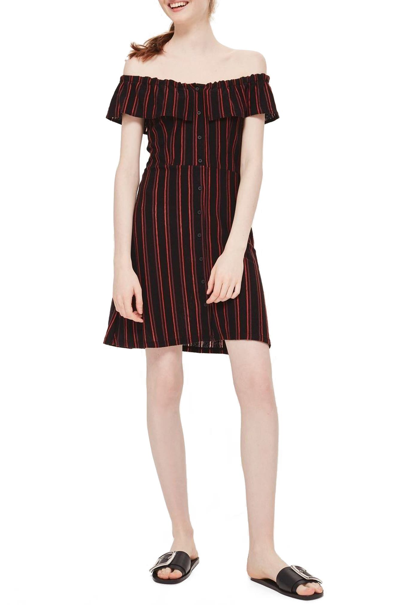 Stripe Frill Bardot Dress,                             Main thumbnail 1, color,                             Black Multi
