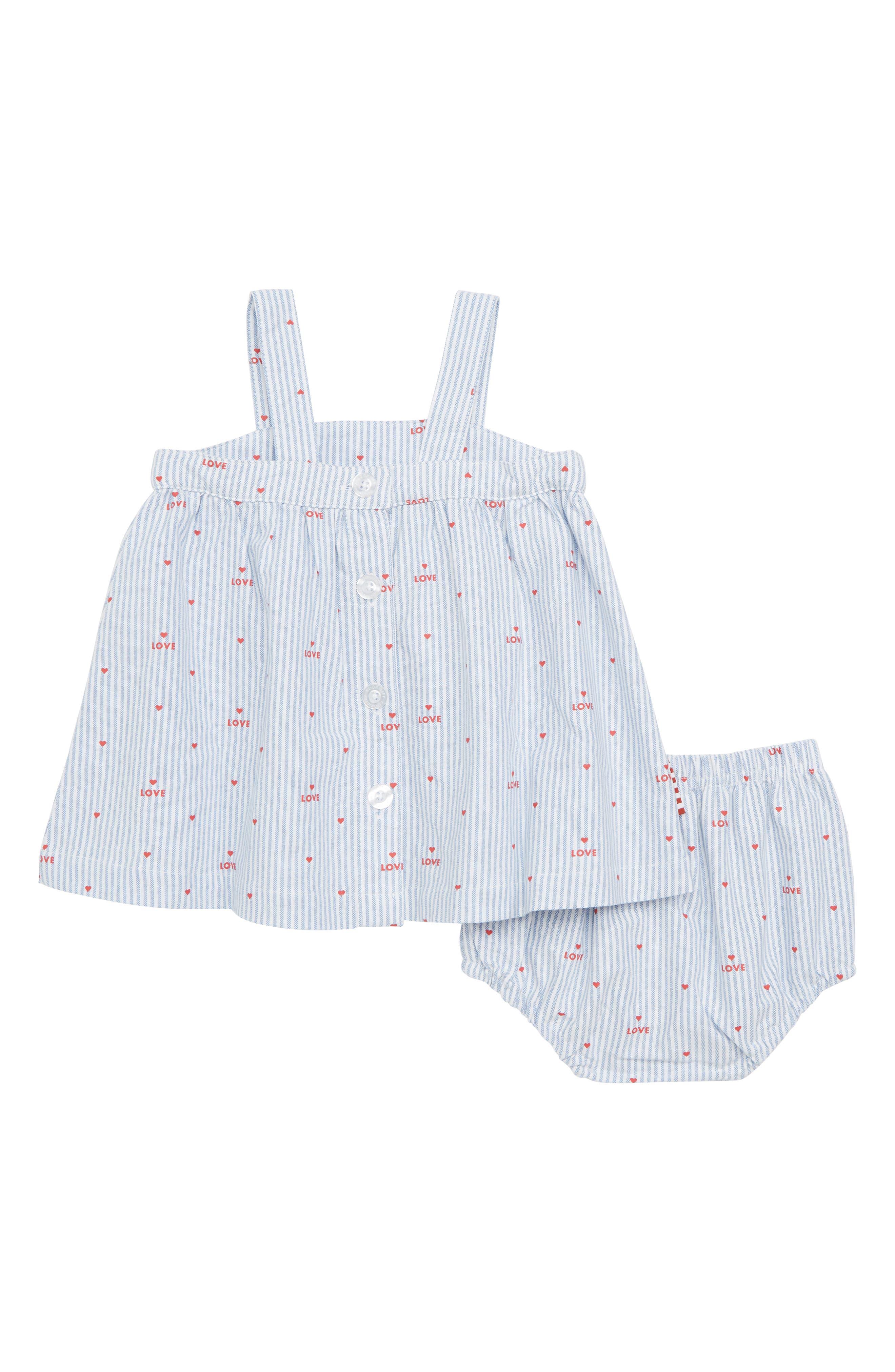 Pinstripe Swing Dress,                             Alternate thumbnail 2, color,                             White/ Peach