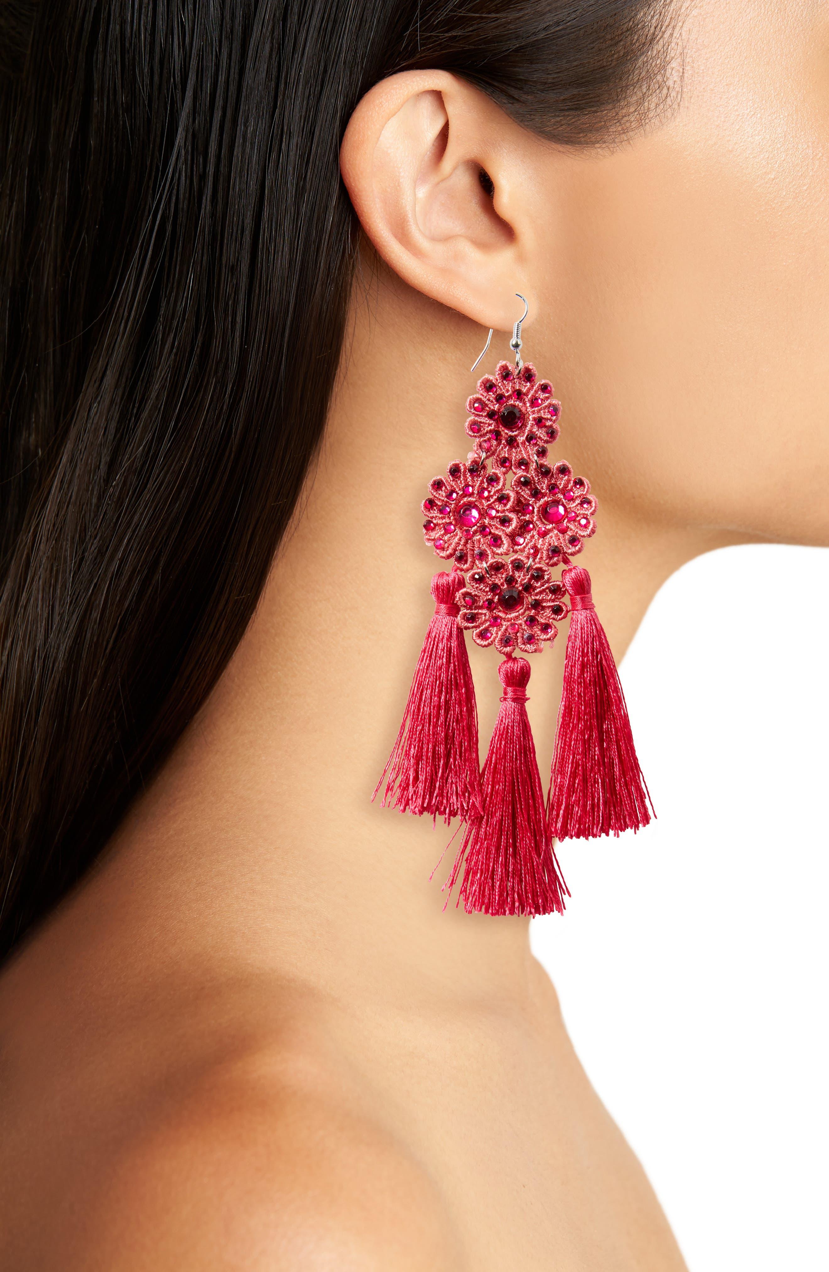 Flower Tassel Earrings,                             Alternate thumbnail 2, color,                             Fuchsia