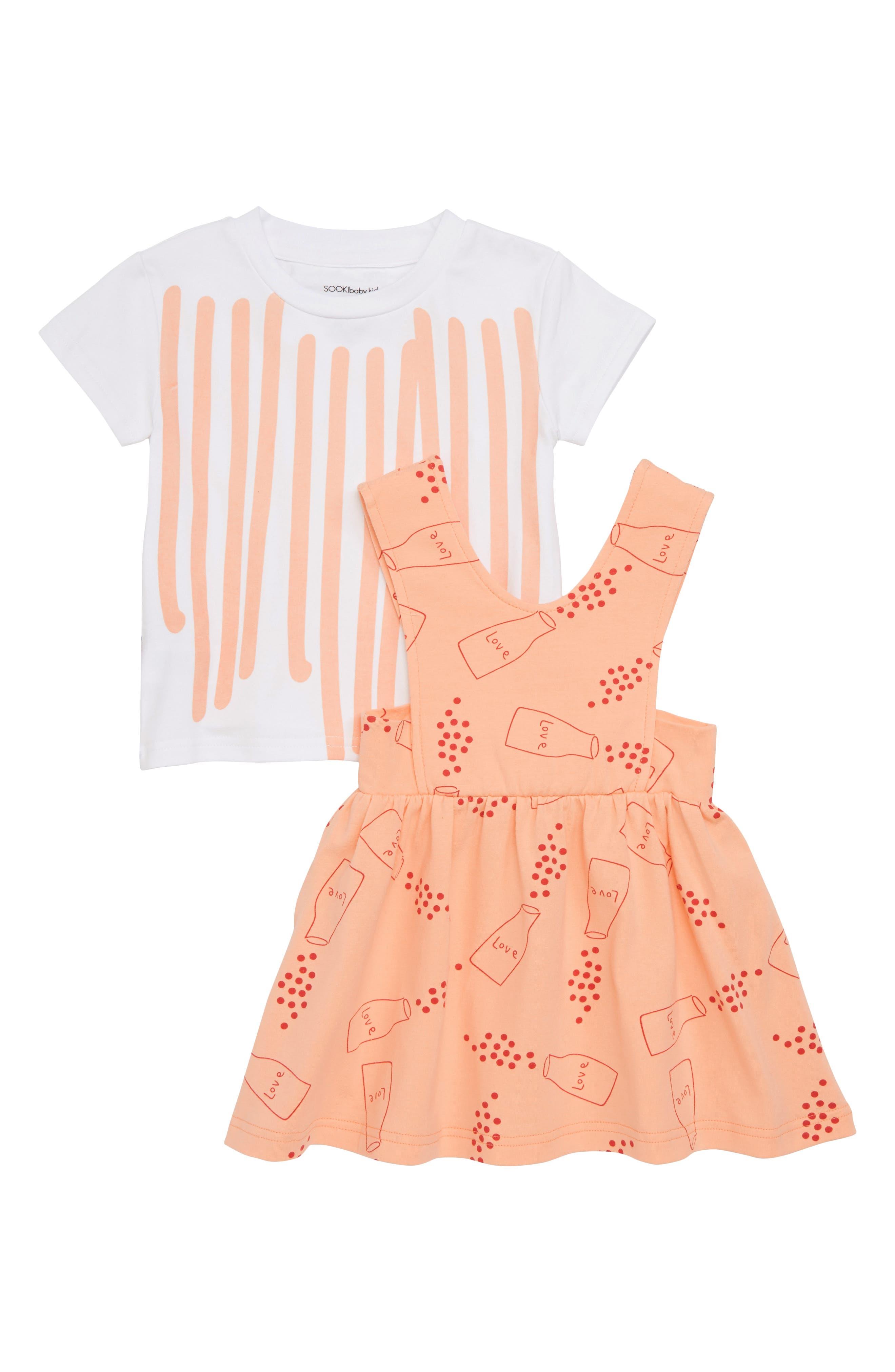 Stripe Tee & Sprinkle Love Pinafore Dress Set,                             Main thumbnail 1, color,                             White / Peach