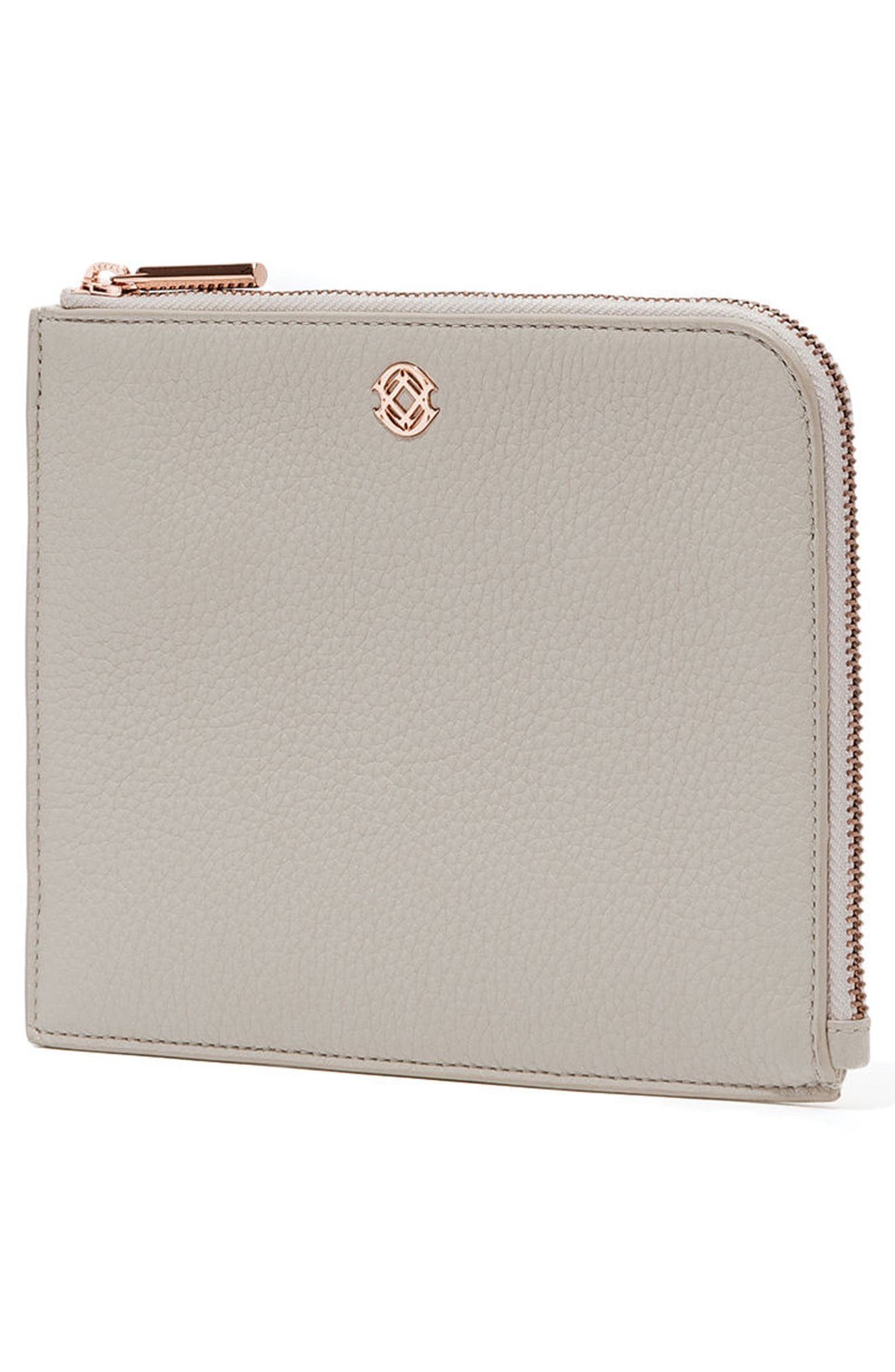 Small Elle Leather Clutch,                             Alternate thumbnail 3, color,                             Bone