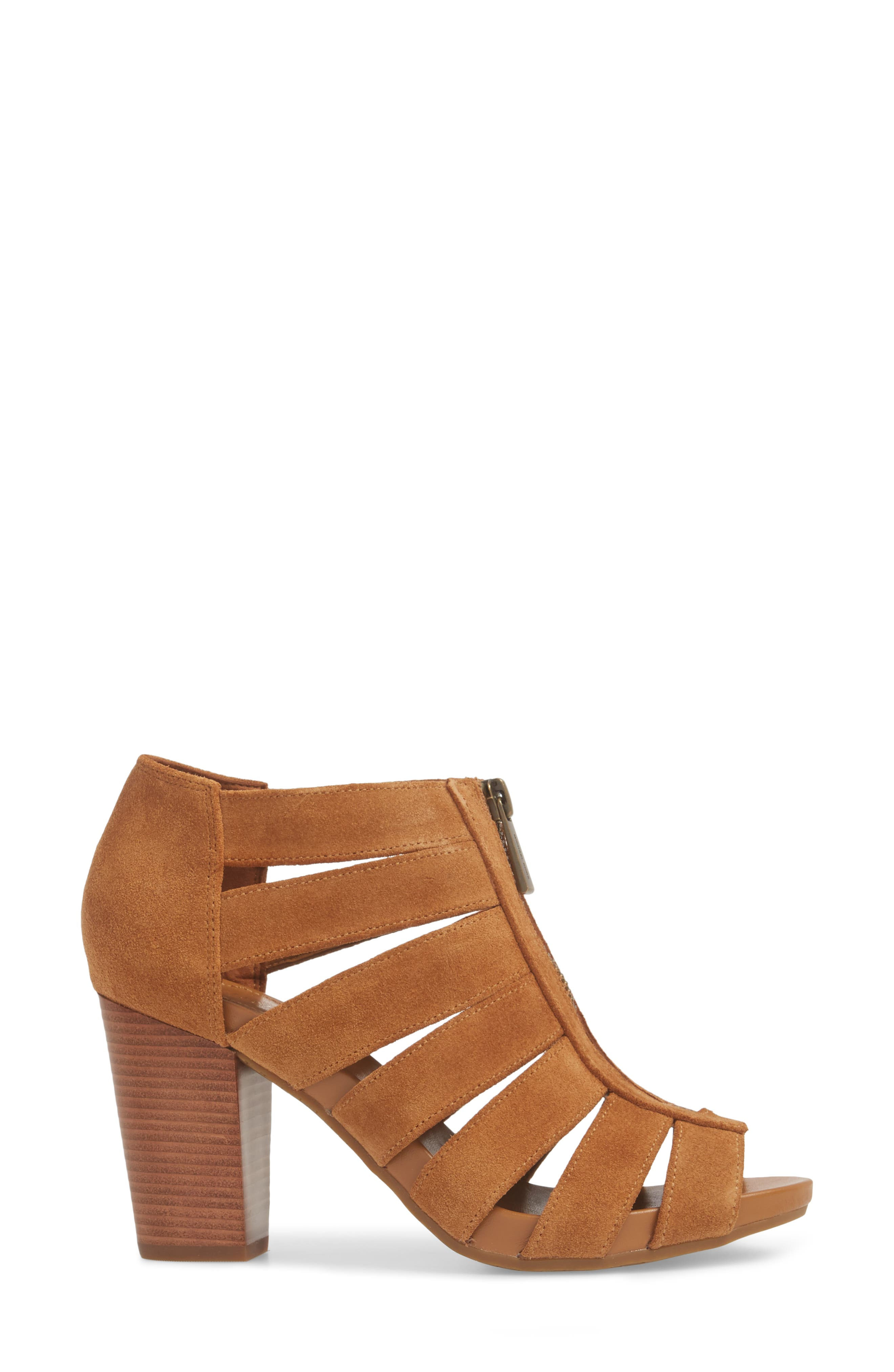 Sherry Cage Bootie,                             Alternate thumbnail 4, color,                             Acorn Suede