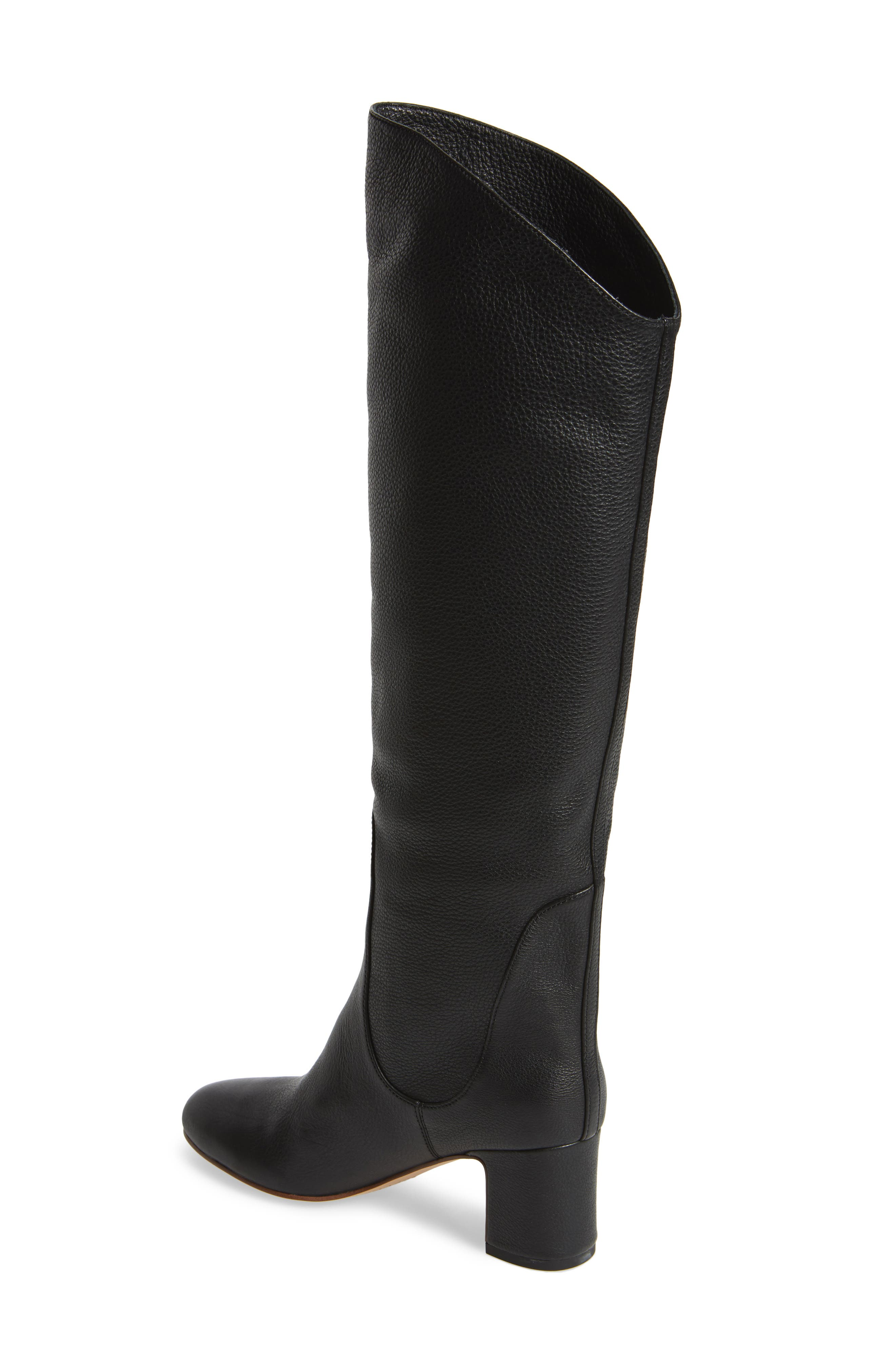 Nick Knee High Boot,                             Alternate thumbnail 2, color,                             Black Leather