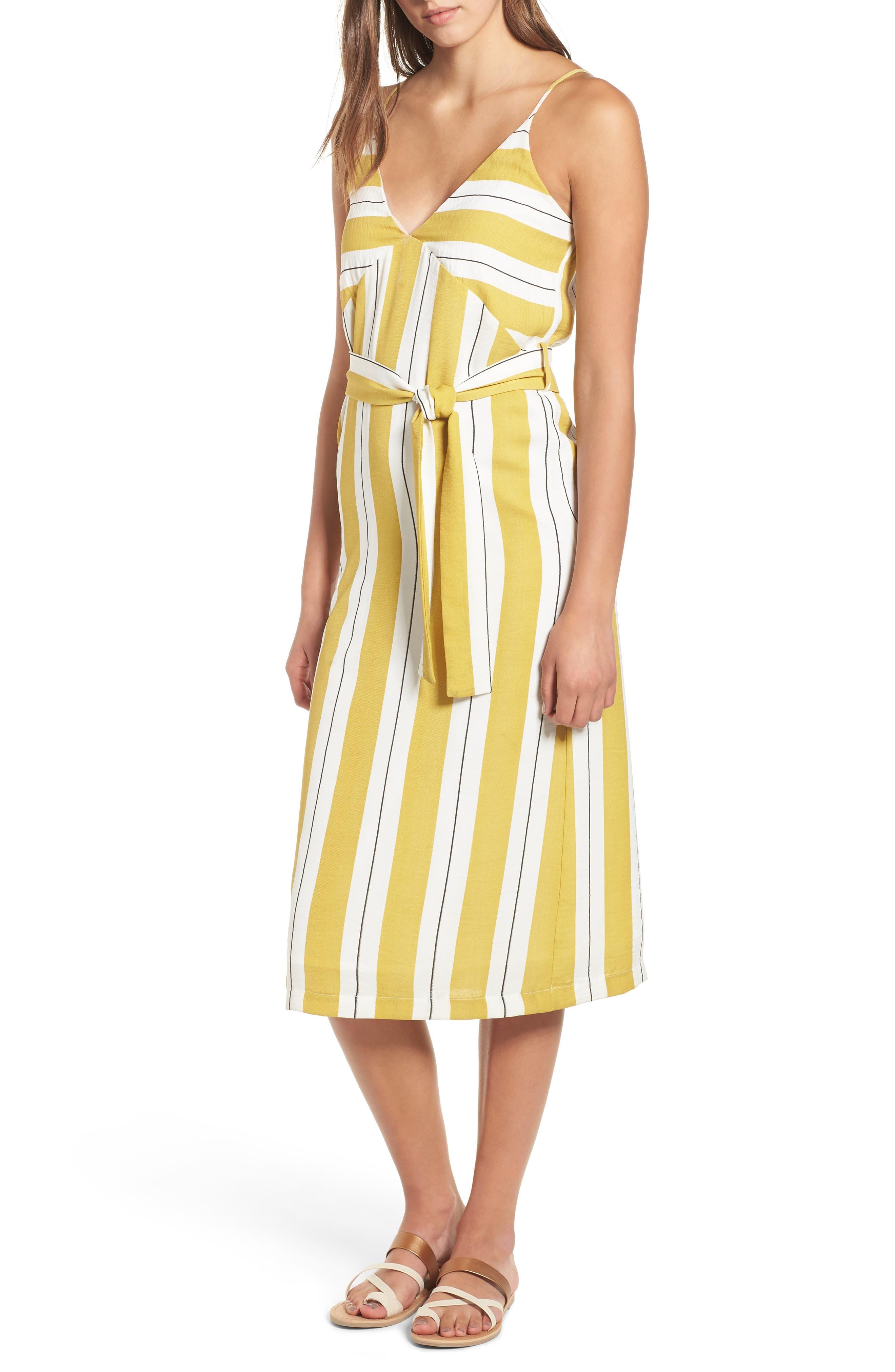 Stripe Midi Dress,                             Main thumbnail 1, color,                             Yellow Stripe Per Sample