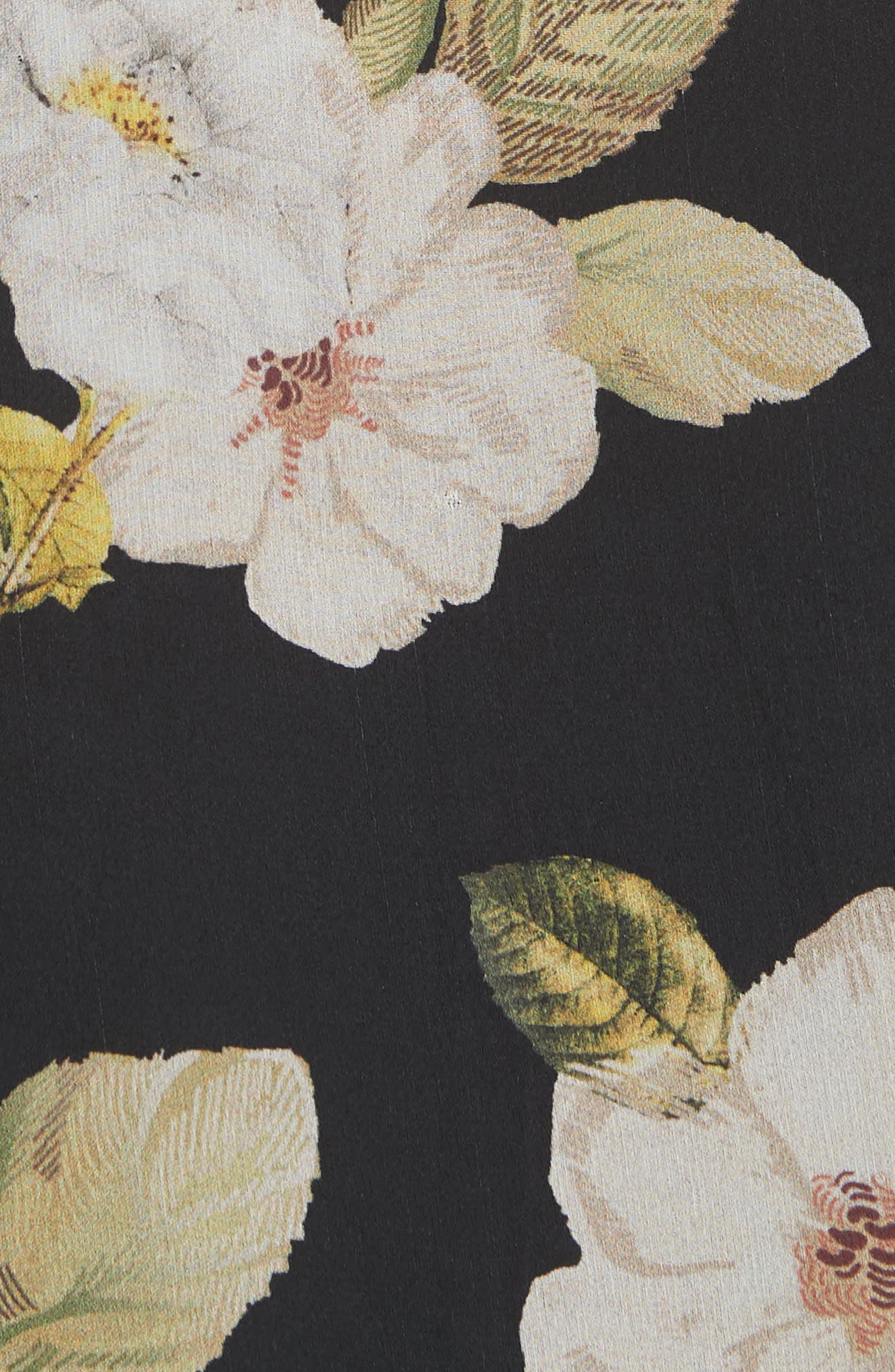 Julius Sheer Silk Tunic Blouse,                             Alternate thumbnail 3, color,                             Hazy Floral Black