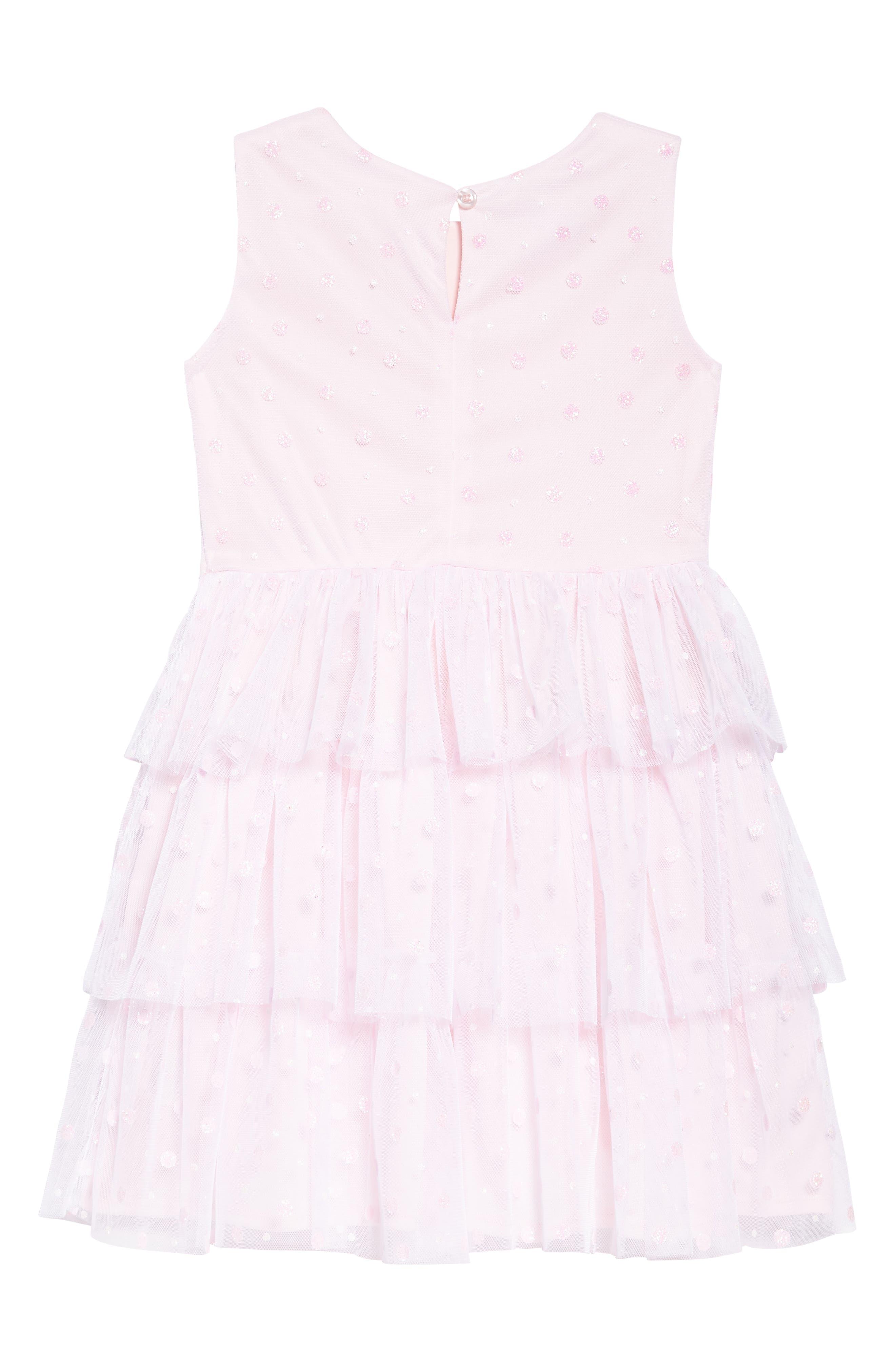 Glitter Dot Fit & Flare Mesh Dress,                             Alternate thumbnail 2, color,                             Pink