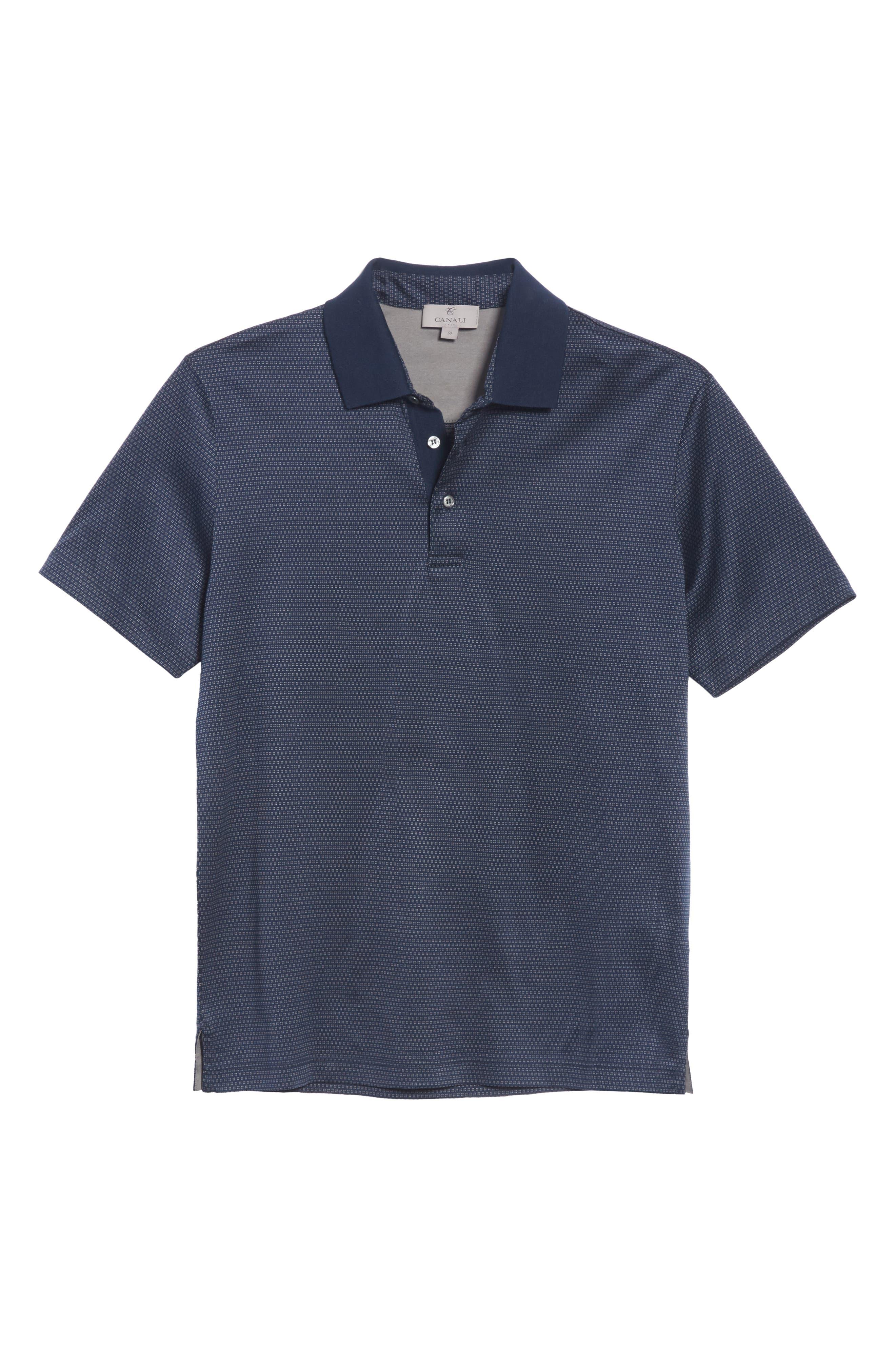 Geometric Cotton Polo Shirt,                             Alternate thumbnail 6, color,                             Navy