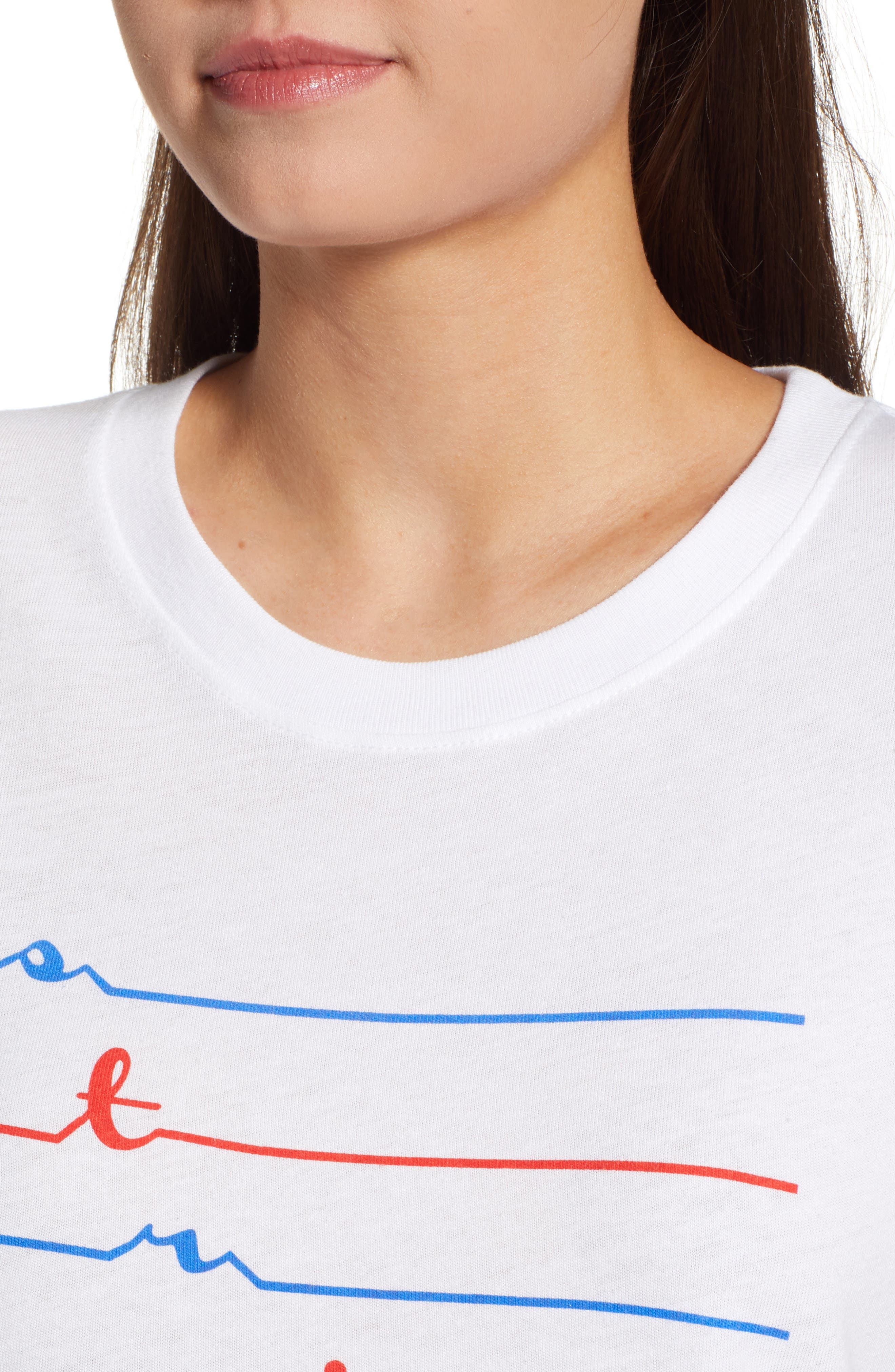 Stripes Slouched Tee,                             Alternate thumbnail 3, color,                             White