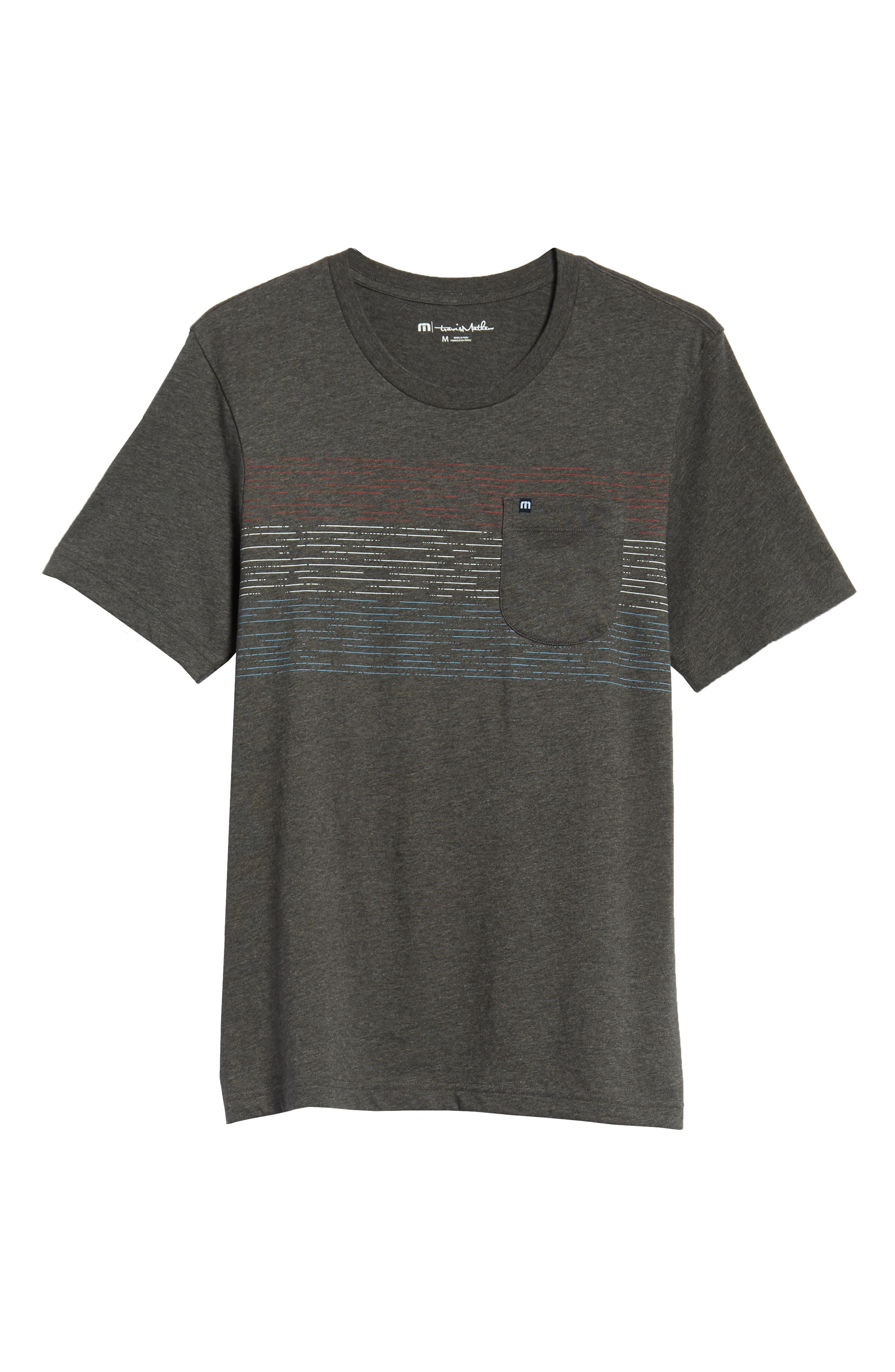 Flogging Print Pocket T-Shirt,                             Alternate thumbnail 6, color,                             Heather Grey Pinstripe