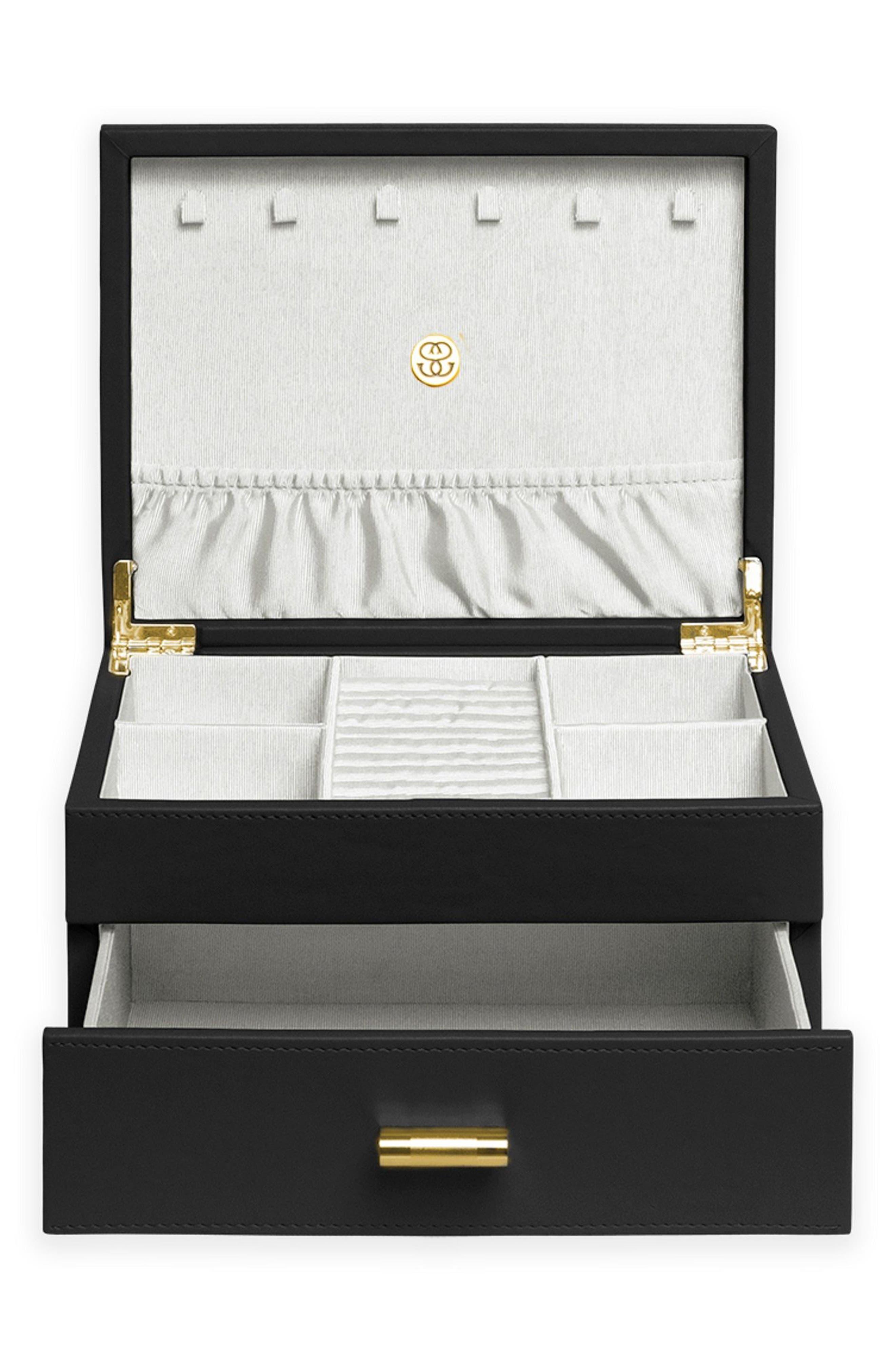 Medium Jewelry Box,                             Alternate thumbnail 2, color,                             Black/ Ivory
