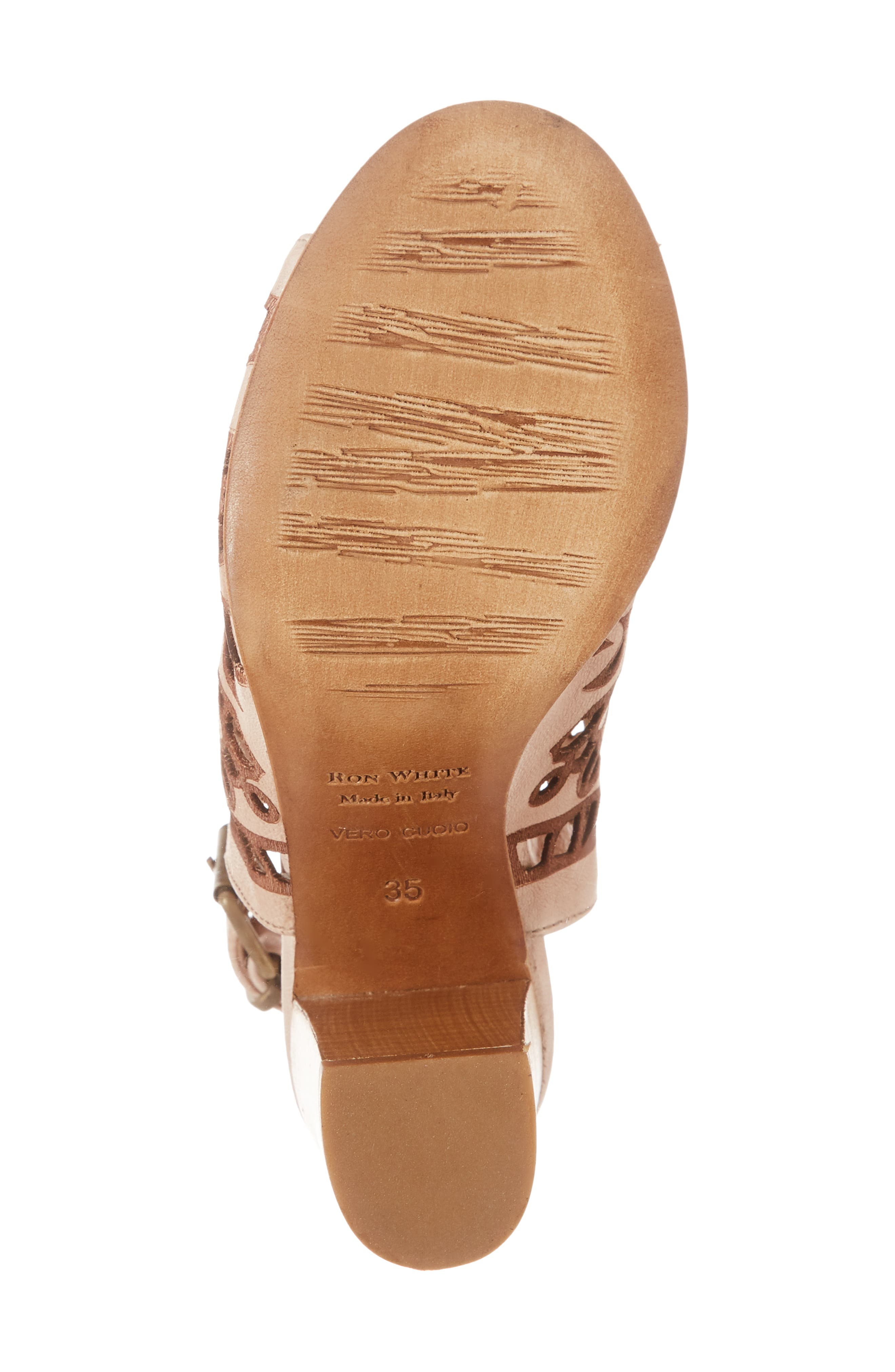 Sabrina Floral Cutout Shield Sandal,                             Alternate thumbnail 4, color,                             Blush Leather