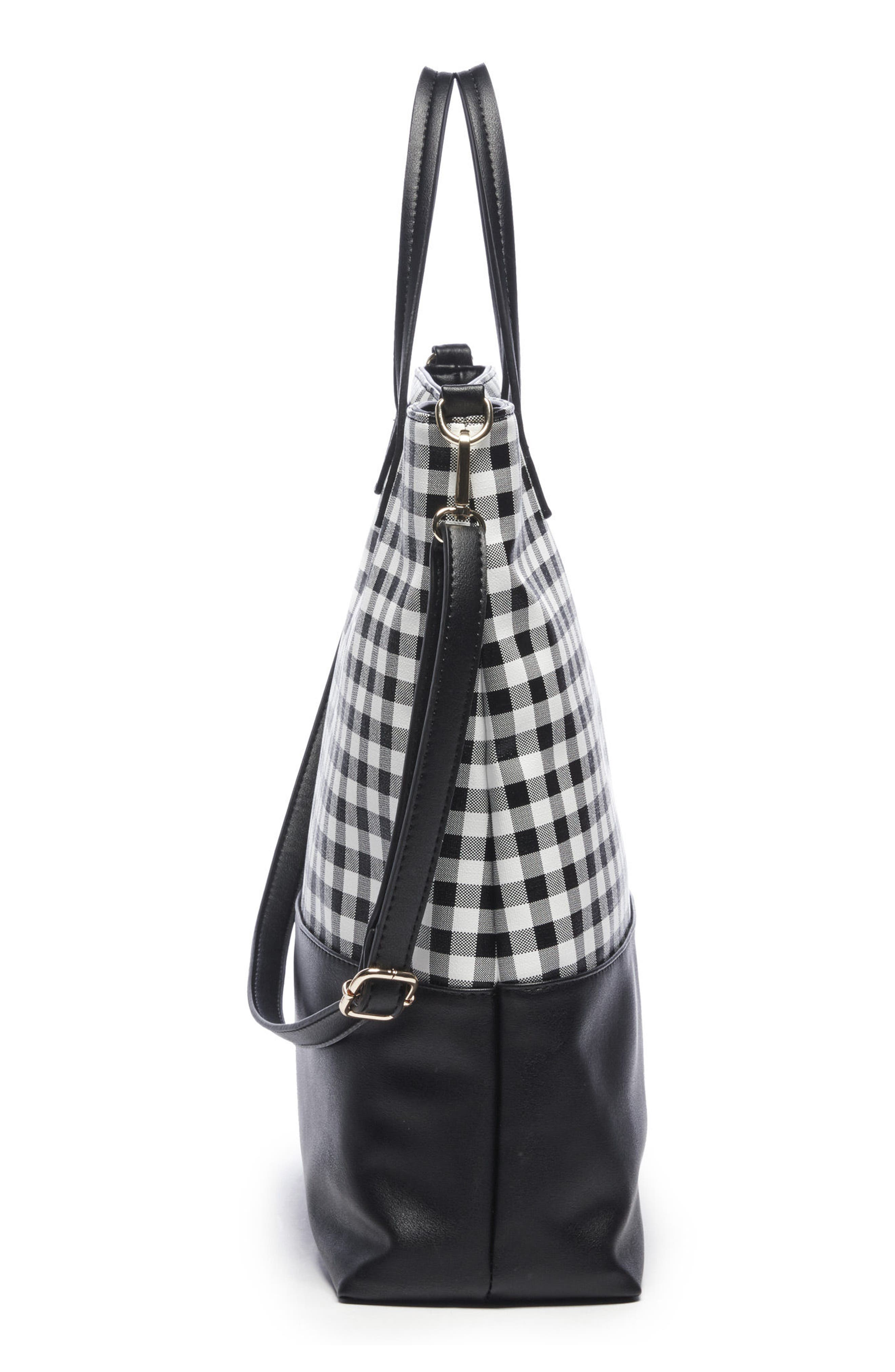 Gingham Faux Leather Tote,                             Alternate thumbnail 4, color,                             Black/ White