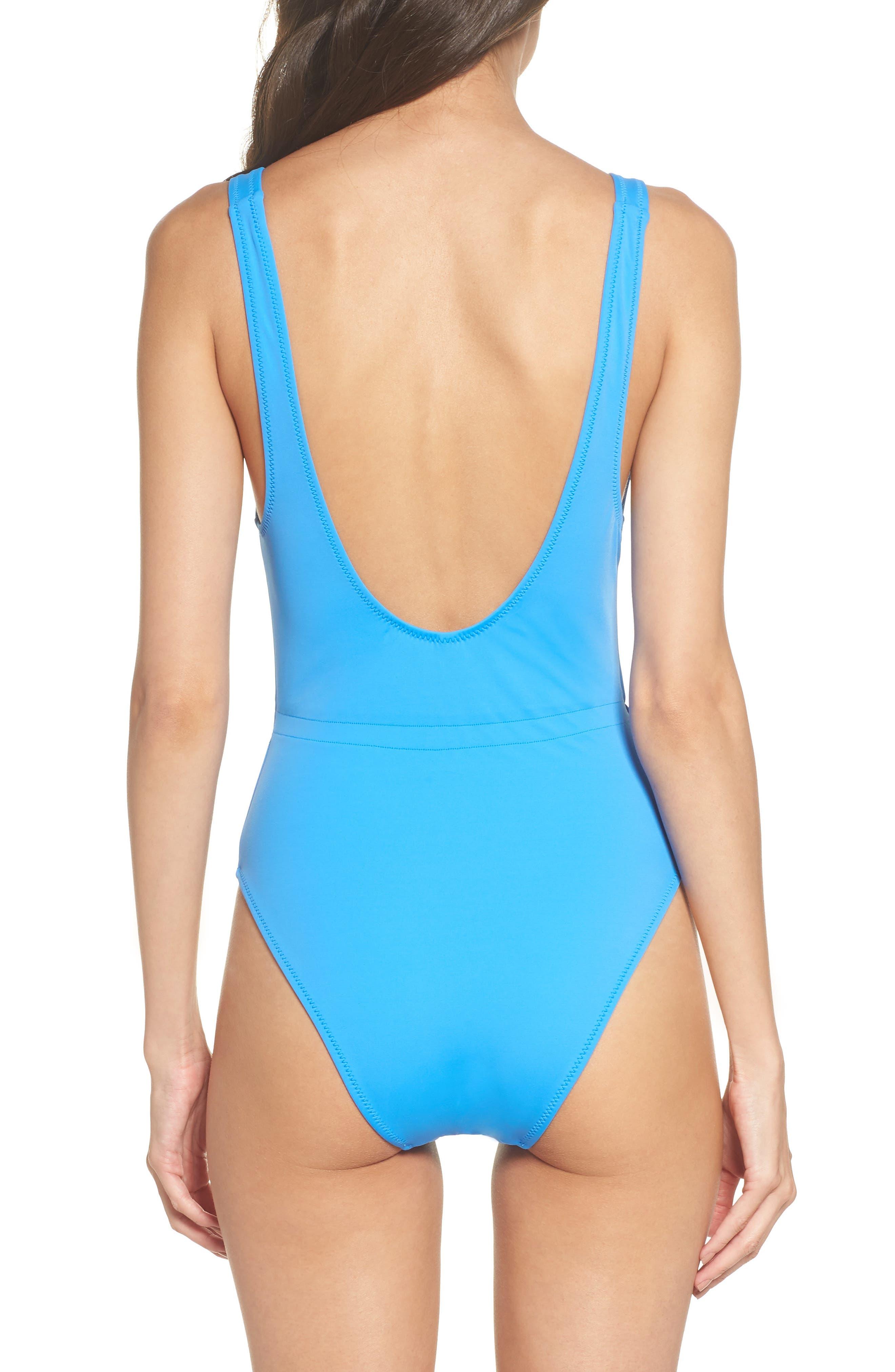 Michelle Tie Waist One-Piece Swimsuit,                             Alternate thumbnail 2, color,                             Sea