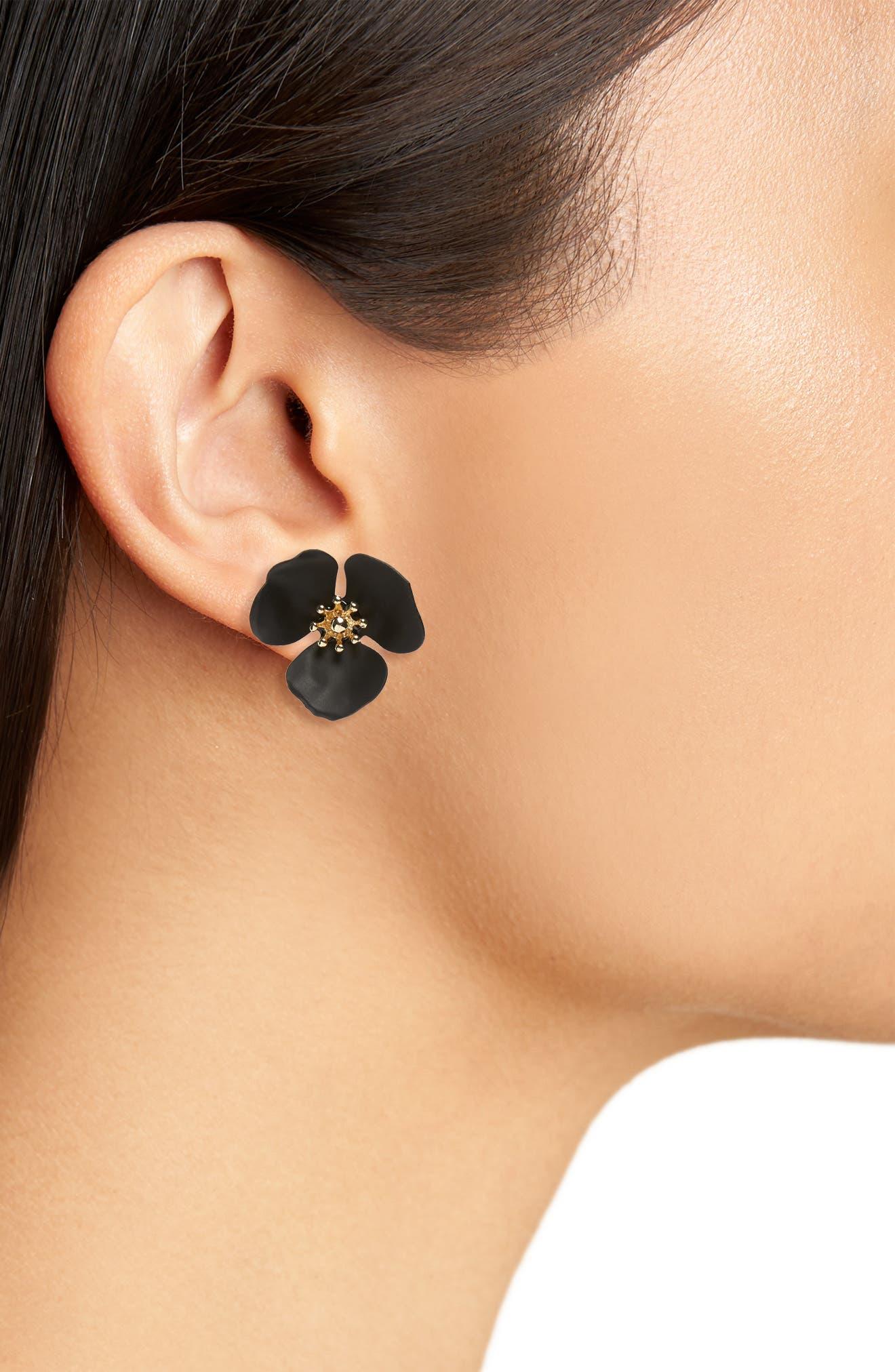 Lily Flower Stud Earrings,                             Alternate thumbnail 2, color,                             Black