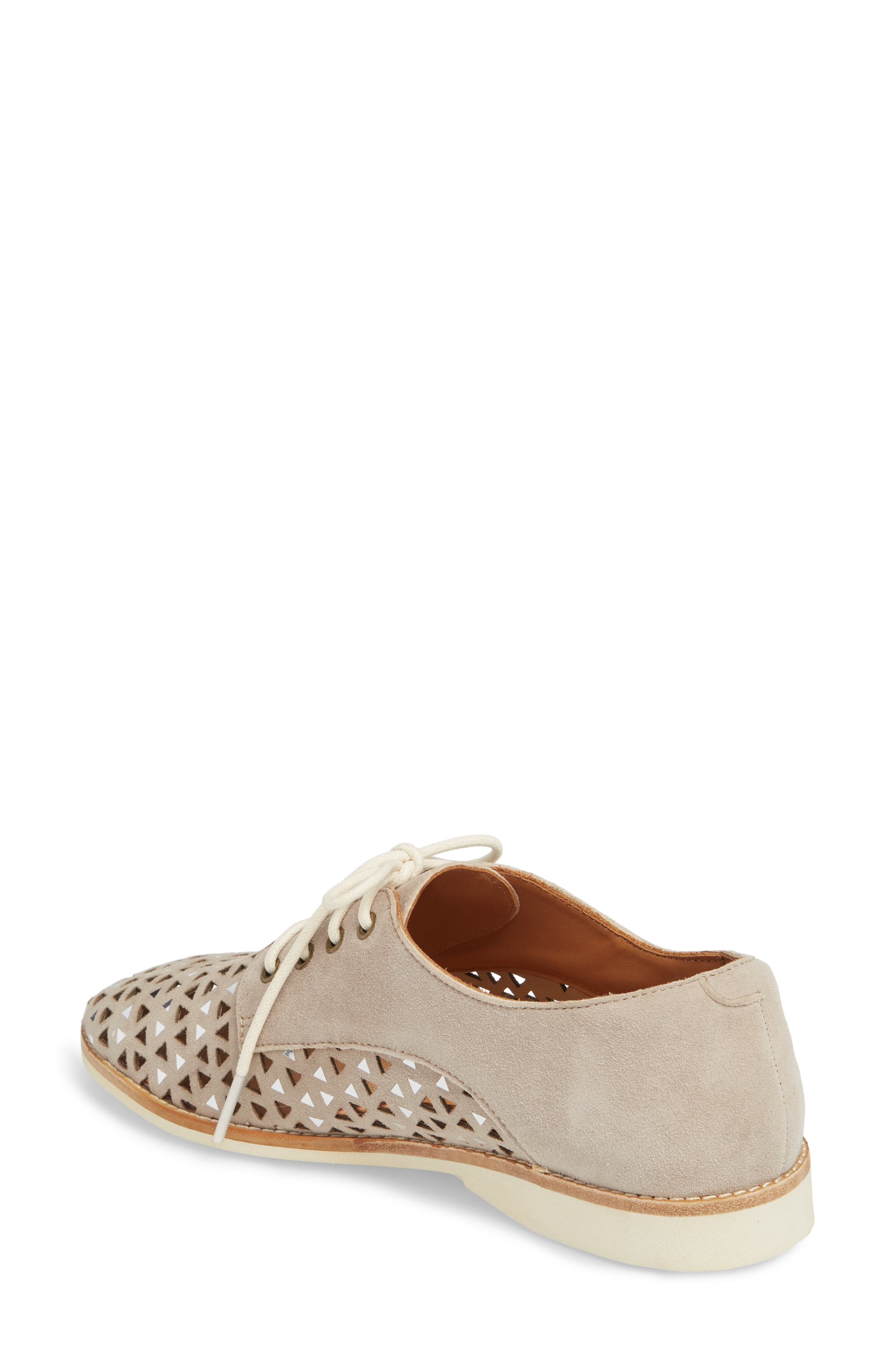 Triangle Perforated Derby,                             Alternate thumbnail 2, color,                             Light Taupe Suede
