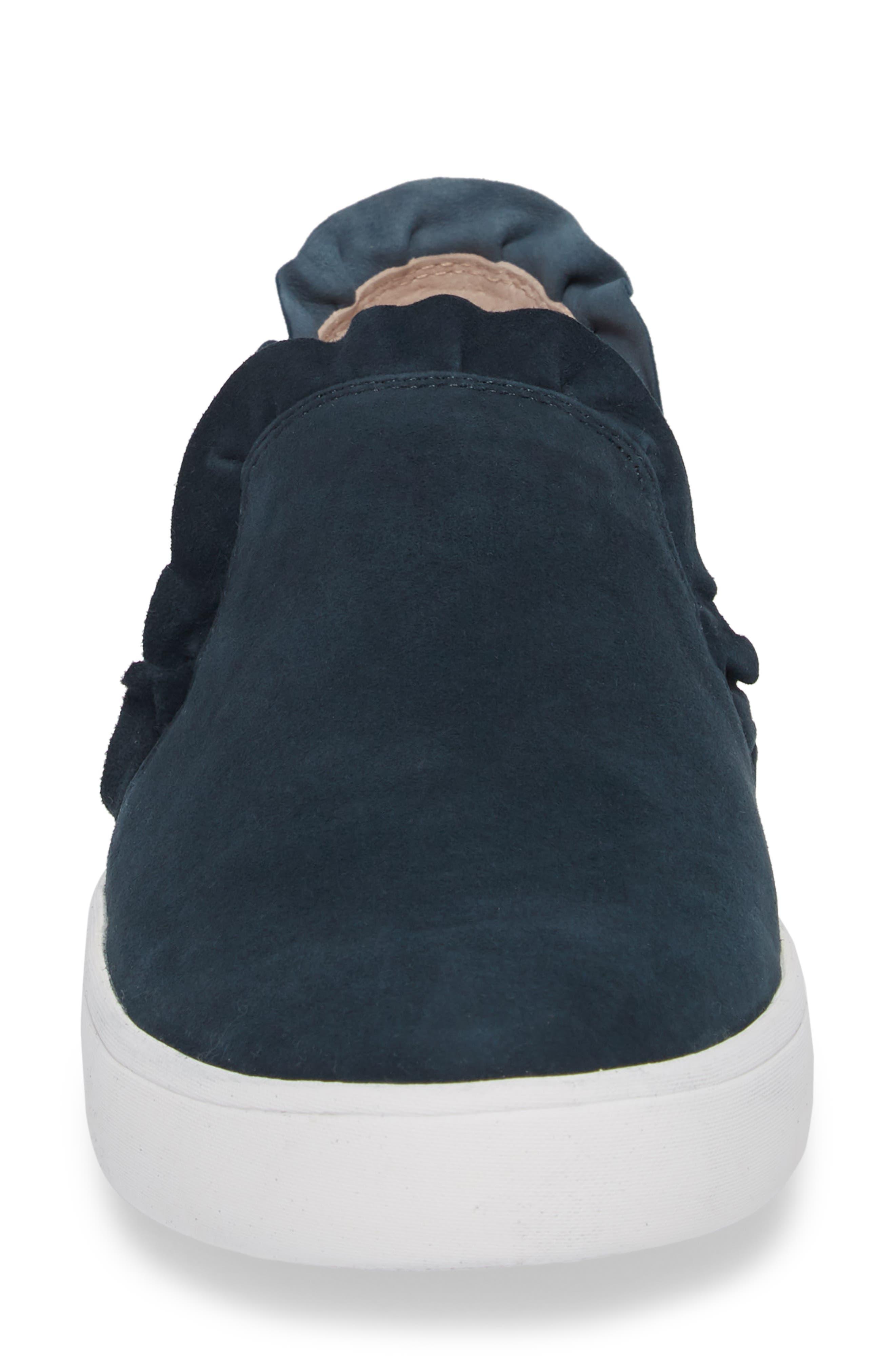 lilly ruffle slip-on sneaker,                             Alternate thumbnail 4, color,                             Navy