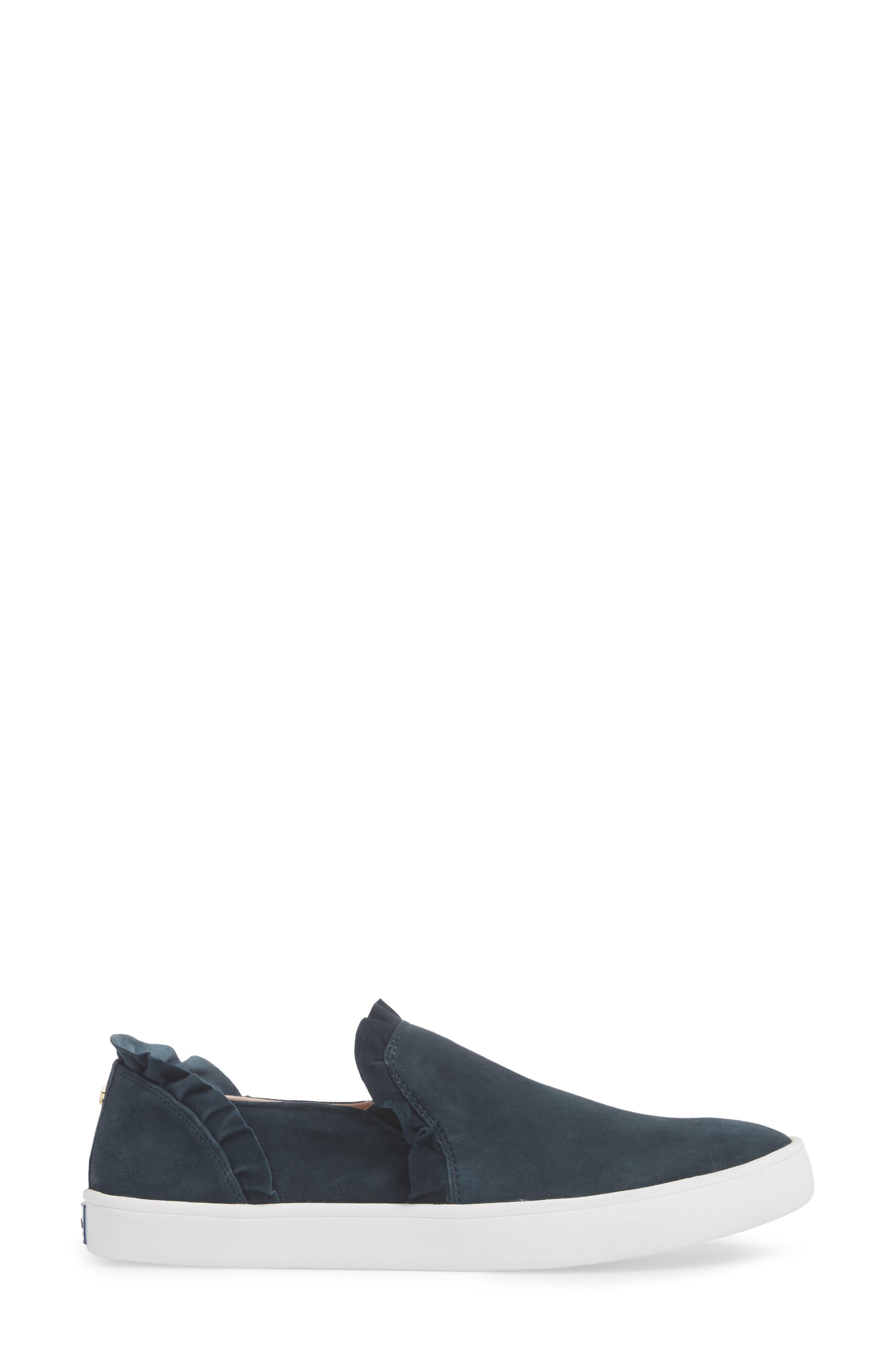 lilly ruffle slip-on sneaker,                             Alternate thumbnail 5, color,                             Navy