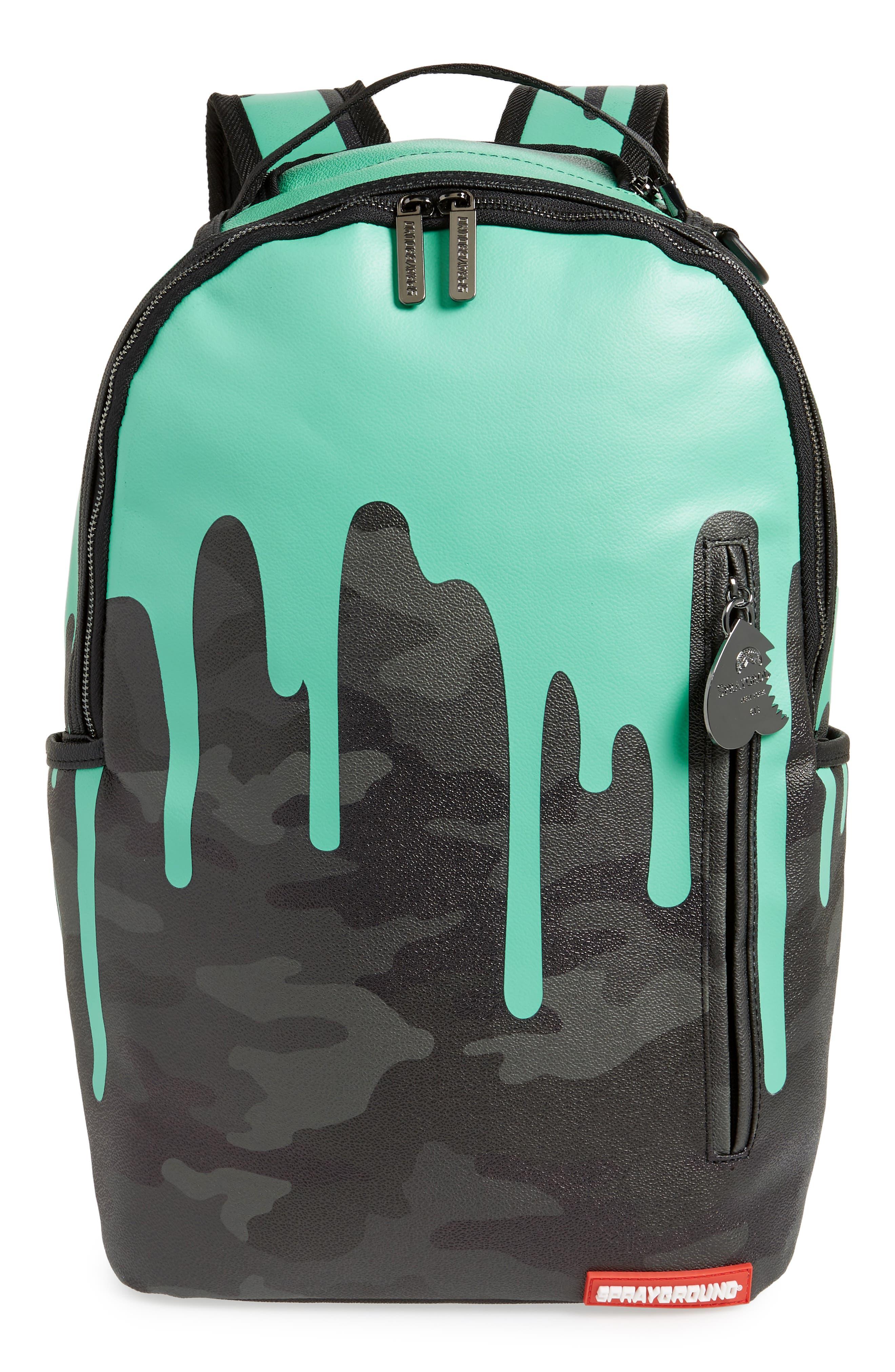 Tiff Drips Print Backpack,                             Main thumbnail 1, color,                             Camo/ Teal