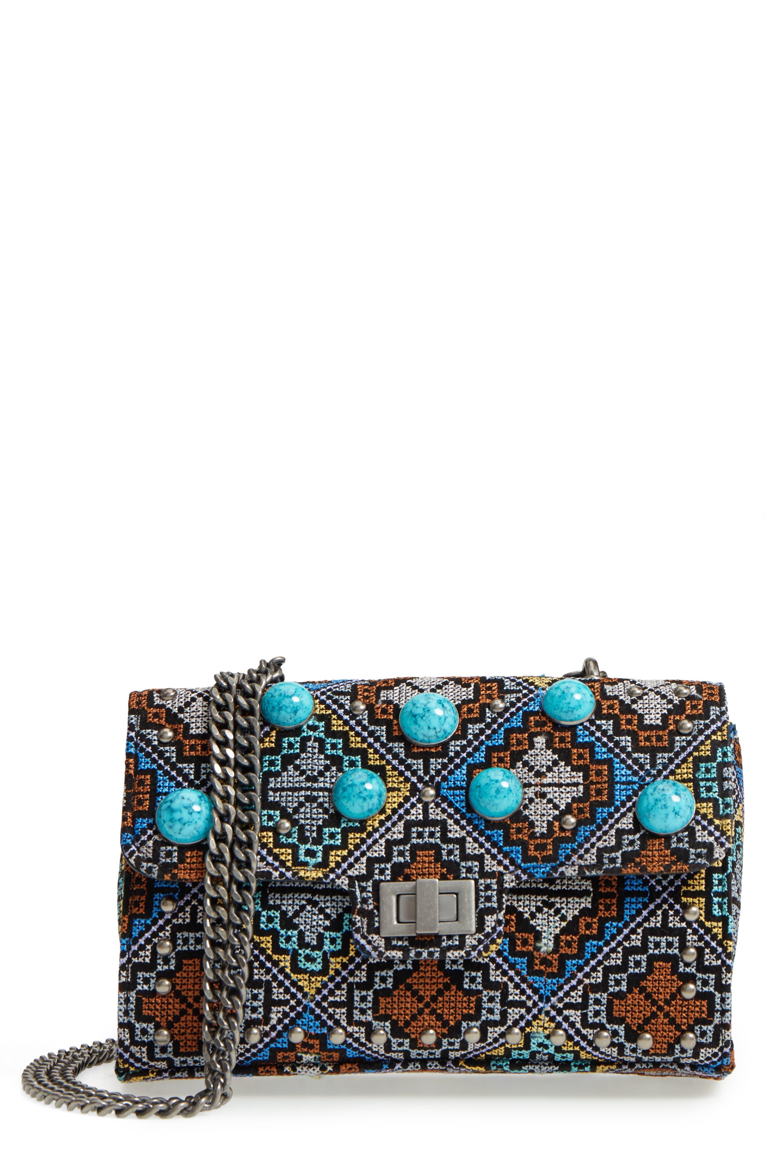 Embroidered Shoulder Bag,                             Main thumbnail 1, color,                             Silver Multi