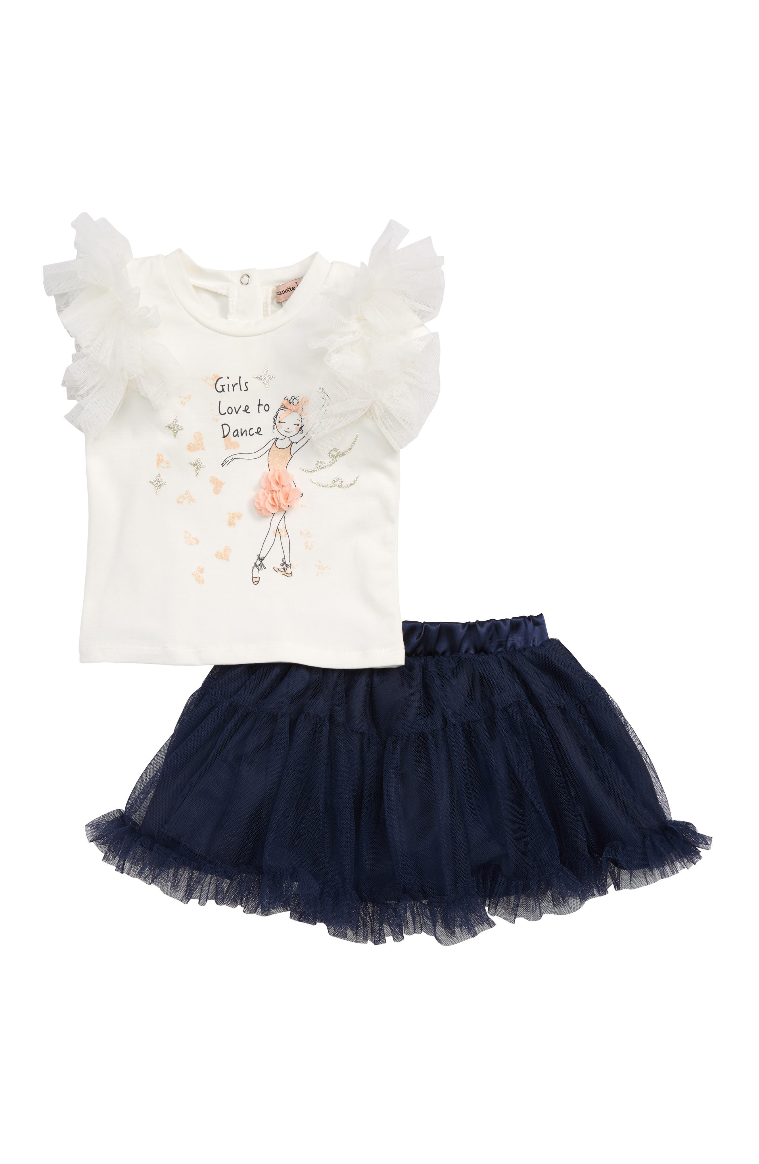 Ballerina Top & Skirt Set,                         Main,                         color, Navy