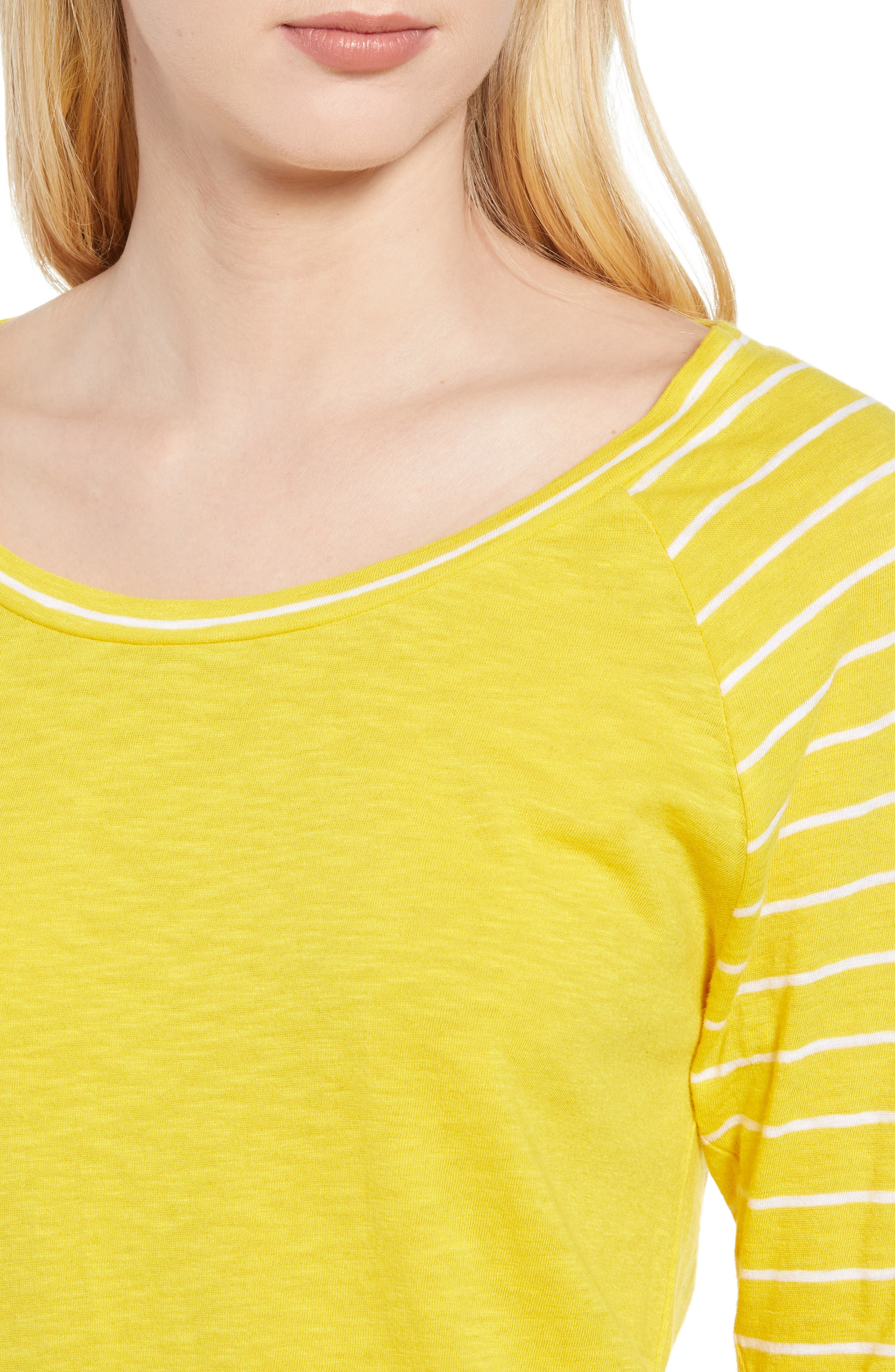 Lightweight Colorblock Cotton Tee,                             Alternate thumbnail 27, color,                             Yellow- White Lukah Combo