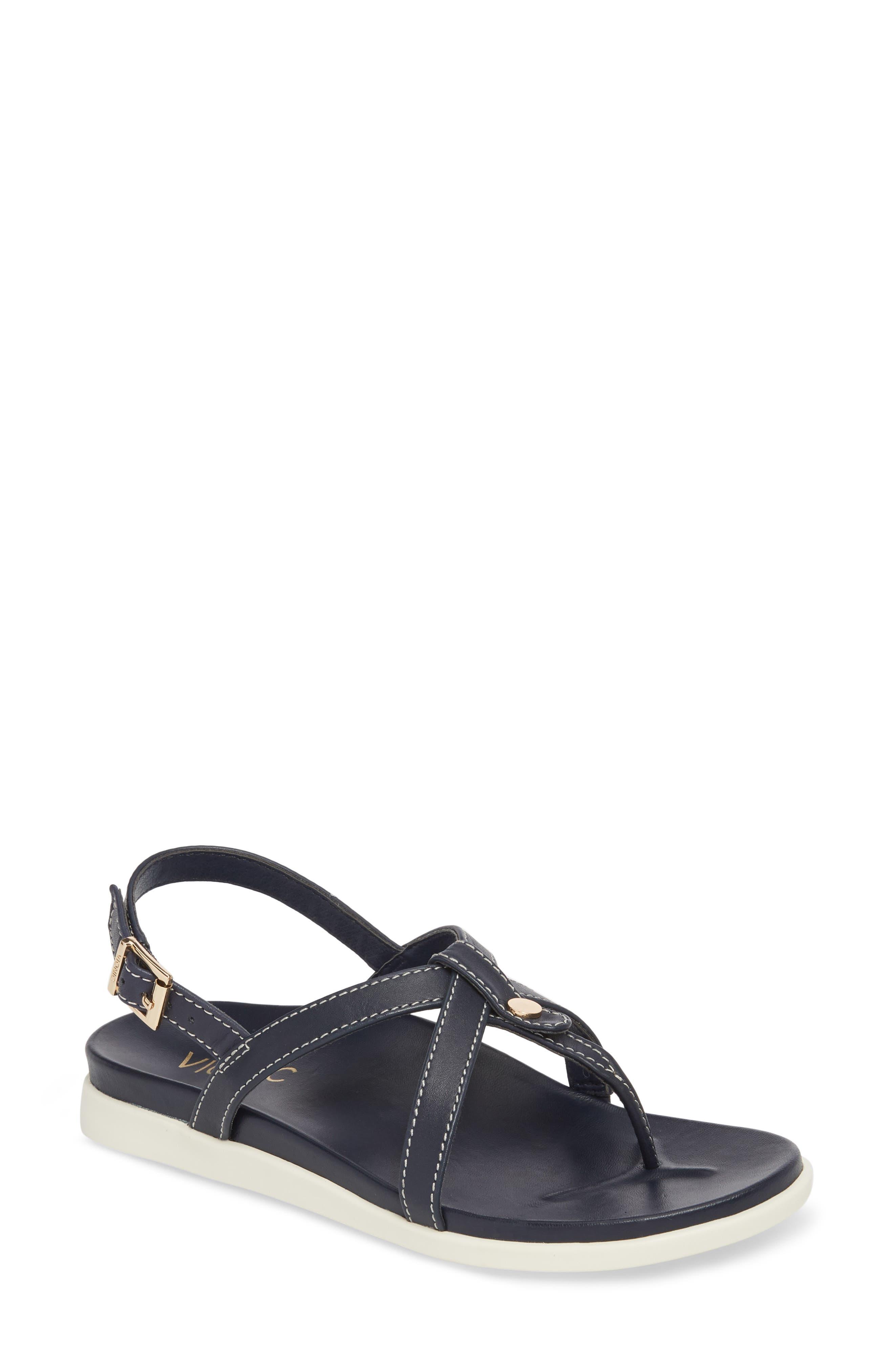 Veranda Orthaheel<sup>®</sup> Sandal,                             Main thumbnail 1, color,                             Navy Leather