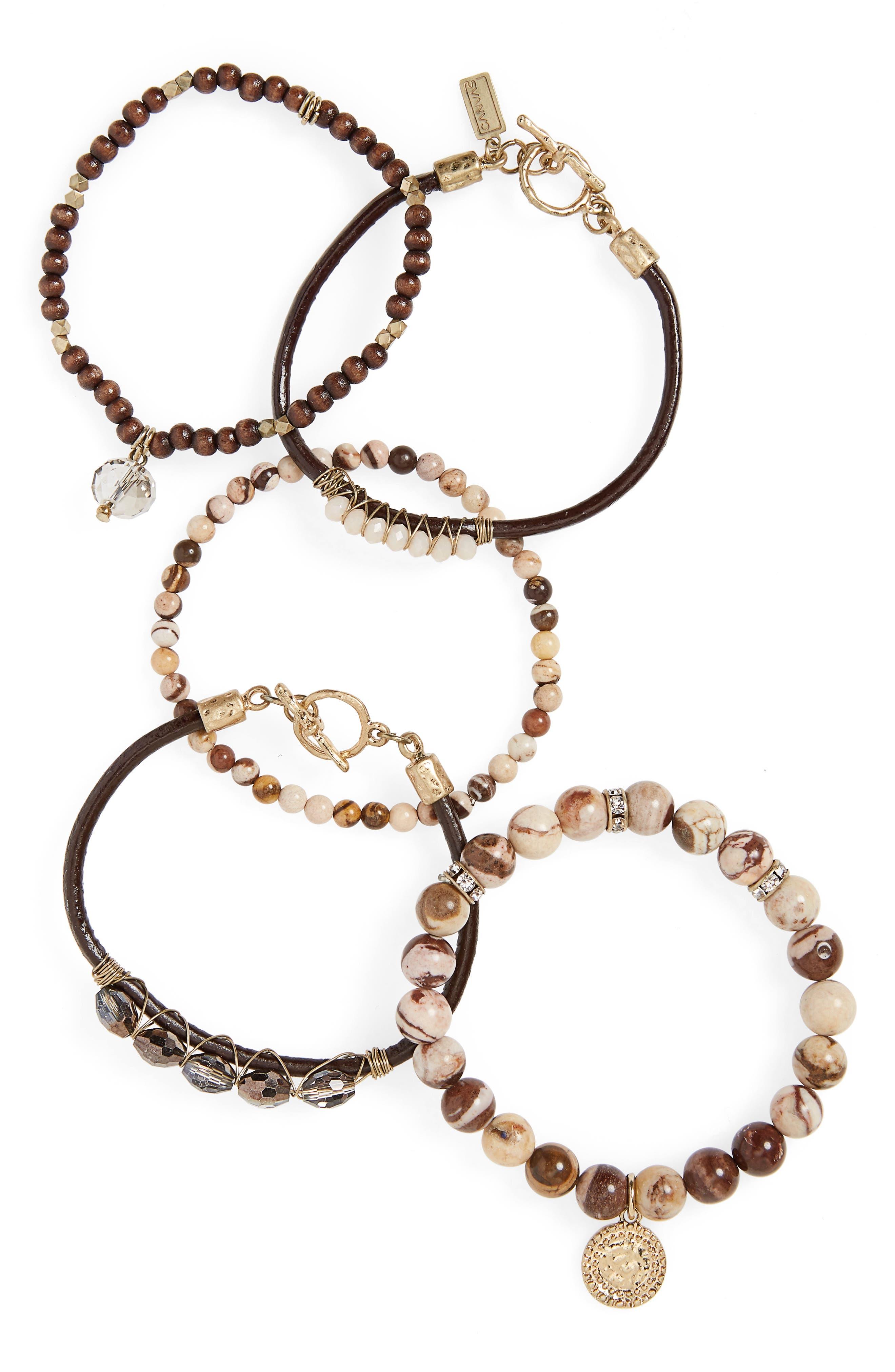 Set of 5 Stone & Crystal Bracelets,                         Main,                         color, Natural