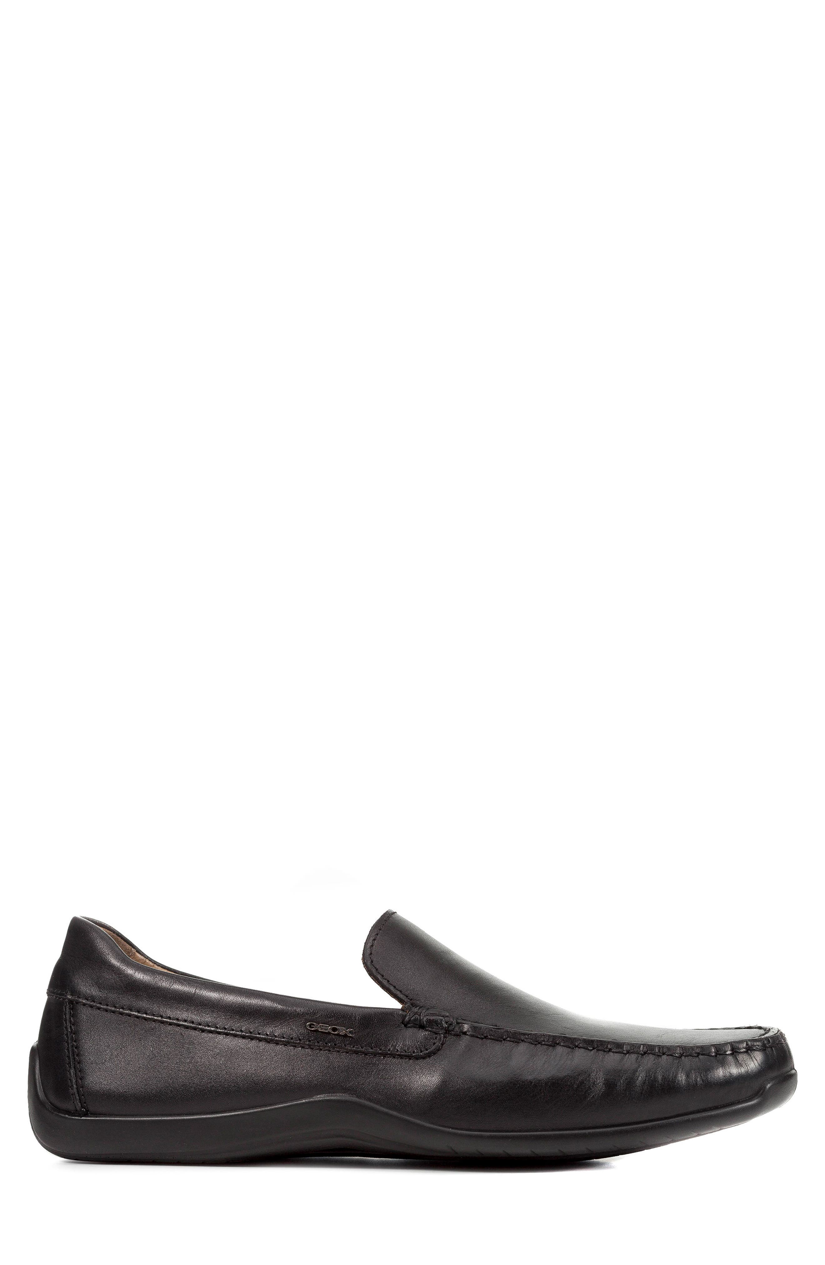 'U Xense Mox' Driving Shoe,                             Alternate thumbnail 3, color,                             Black Leather