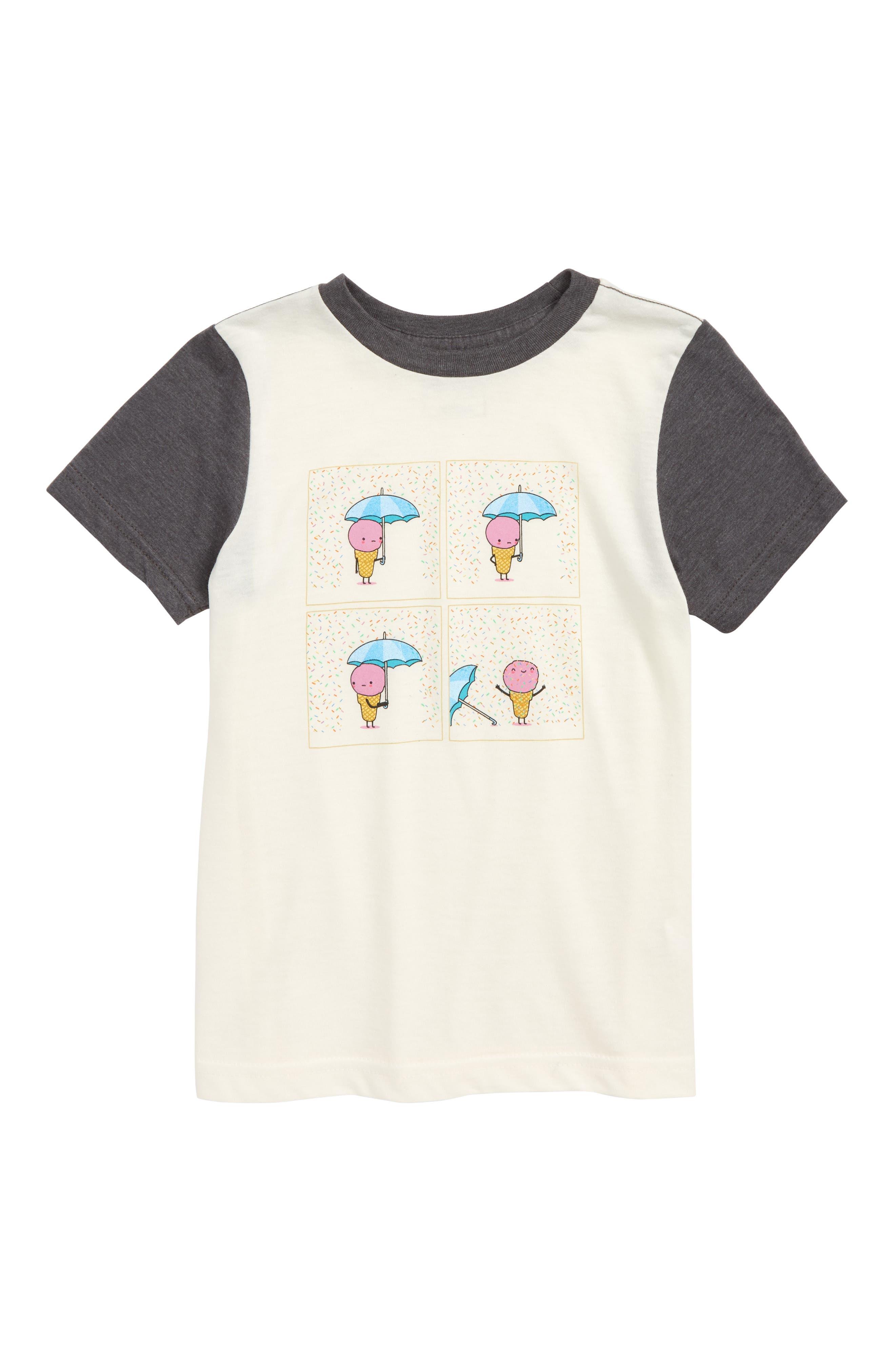 Short Sleeve Graphic T-Shirt,                             Main thumbnail 1, color,                             Ivory Egret Rainy Days