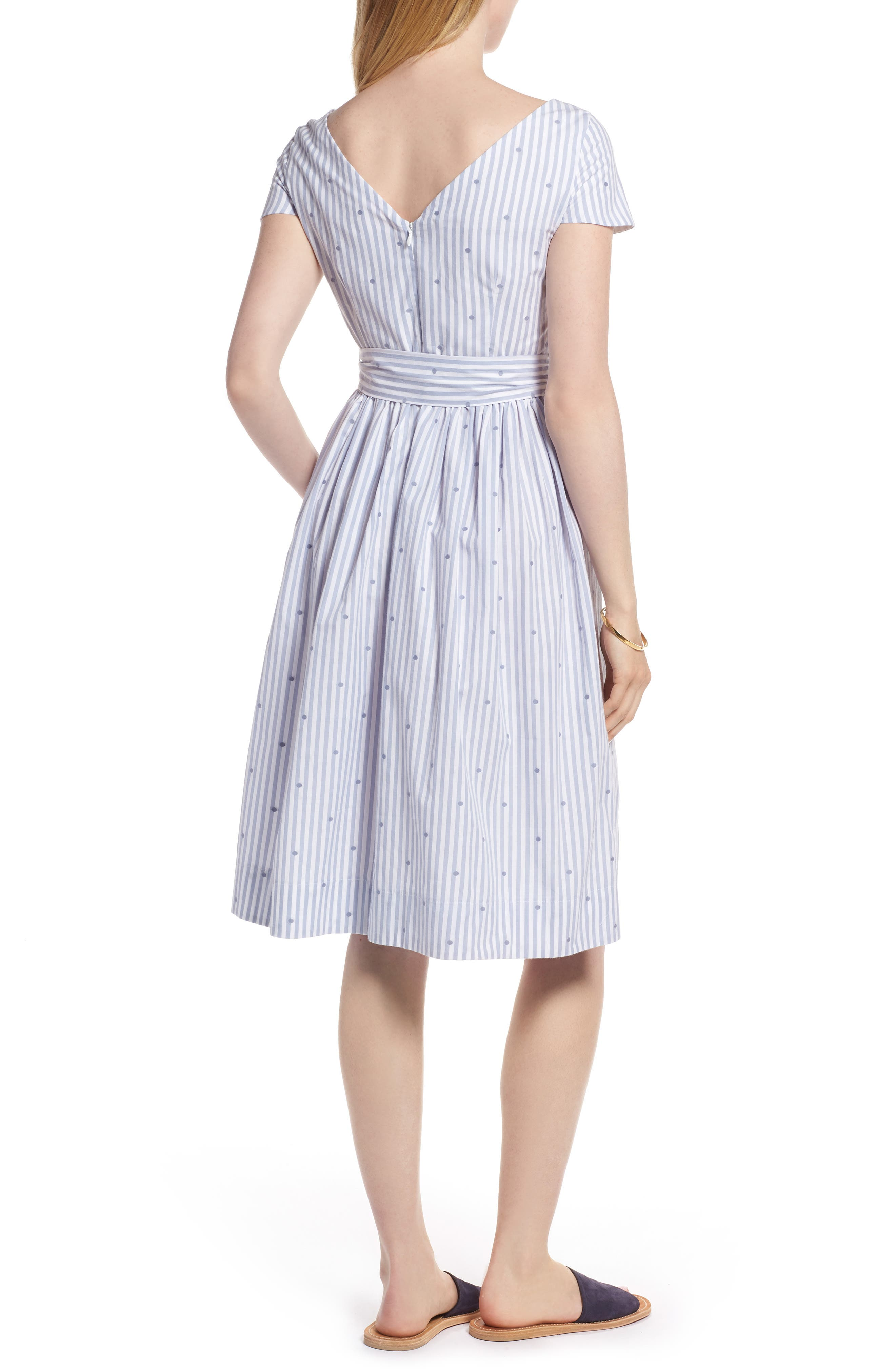 Stripe & Dot Cotton Dress,                             Alternate thumbnail 2, color,                             Eve Dot Stripe
