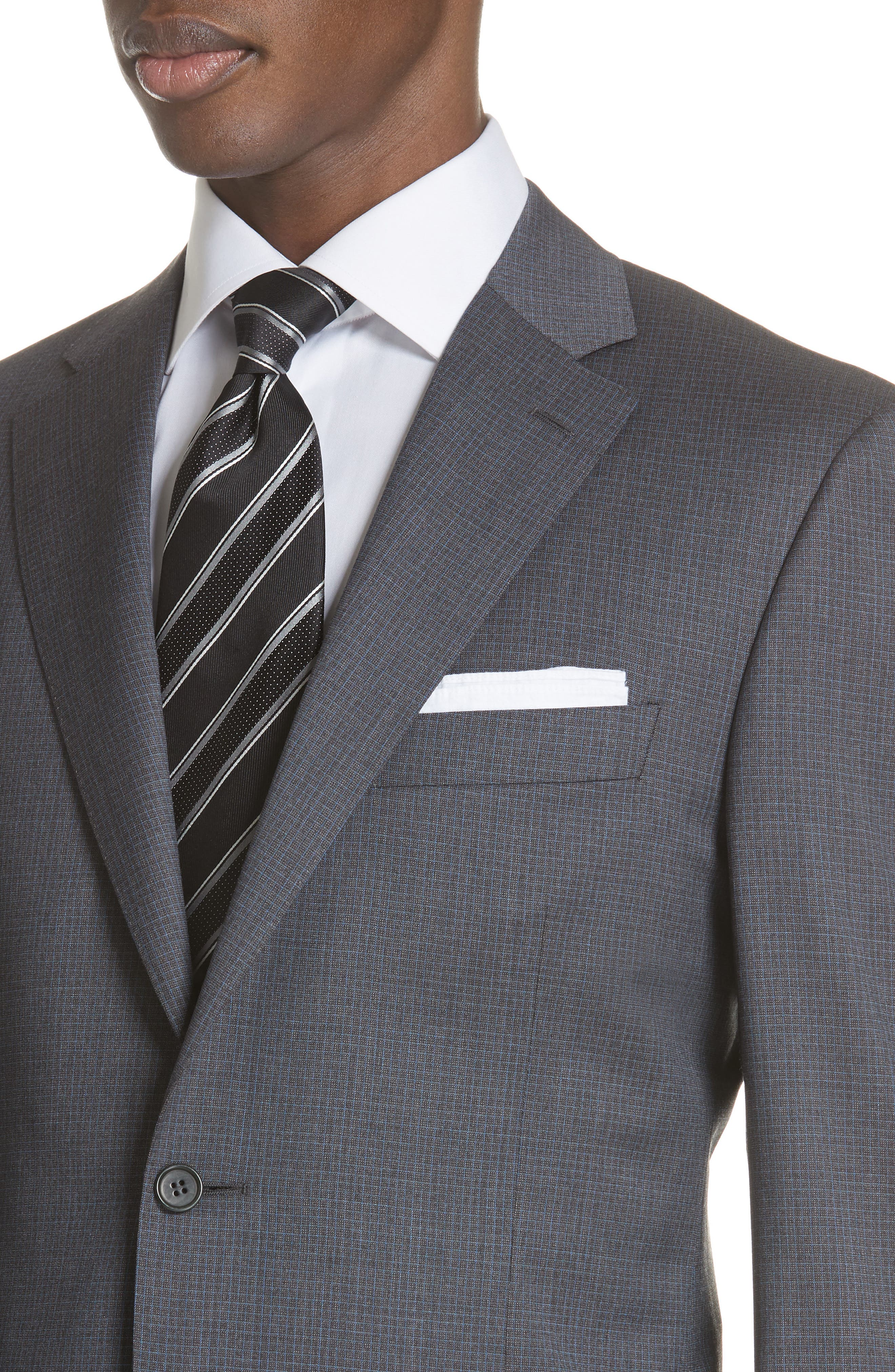 Classic Fit Check Wool Suit,                             Alternate thumbnail 4, color,                             Grey