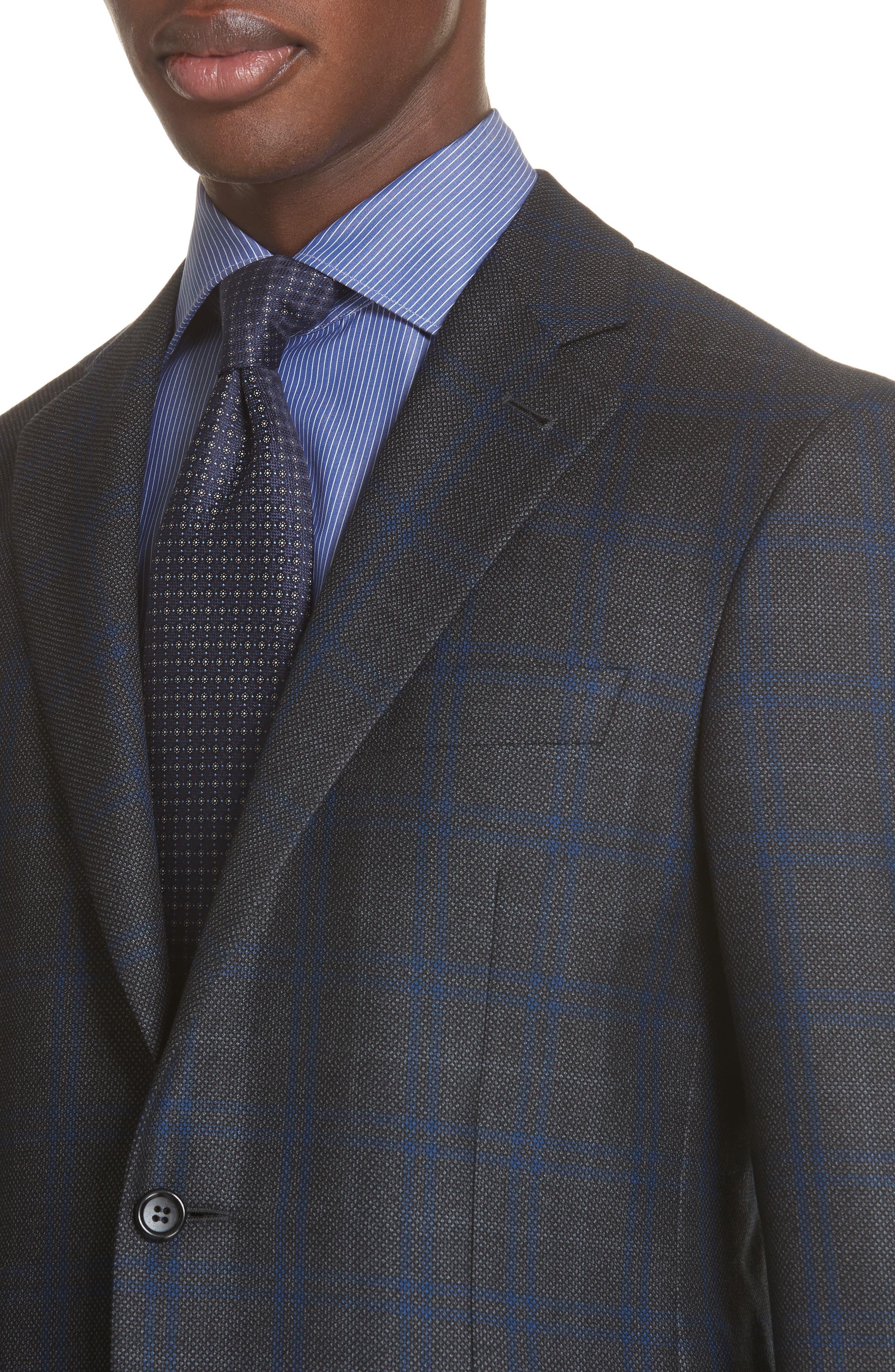 Classic Fit Plaid Silk & Wool Sport Coat,                             Alternate thumbnail 4, color,                             Charcoal