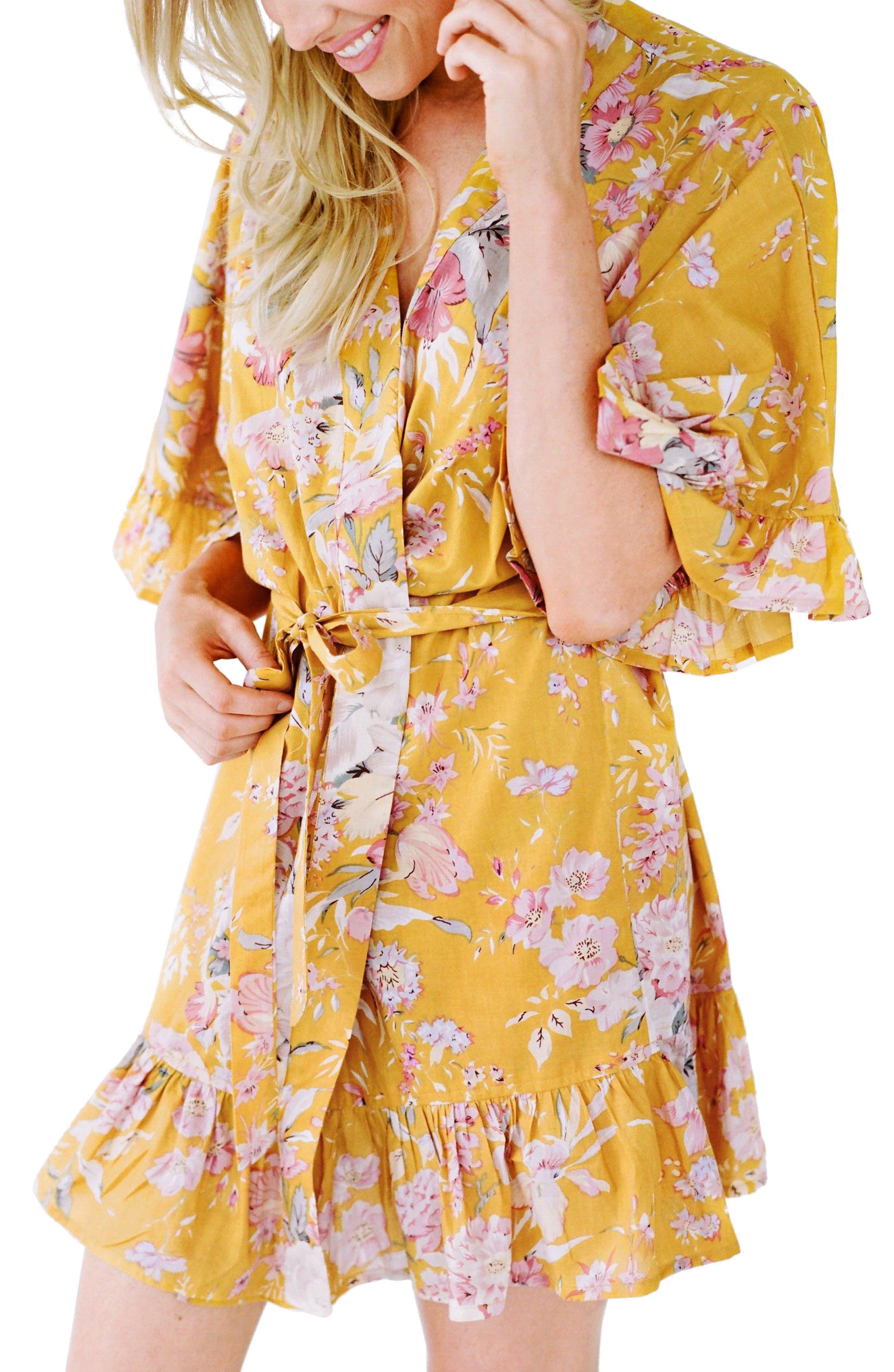 Flutter Robe,                             Alternate thumbnail 2, color,                             Marigold